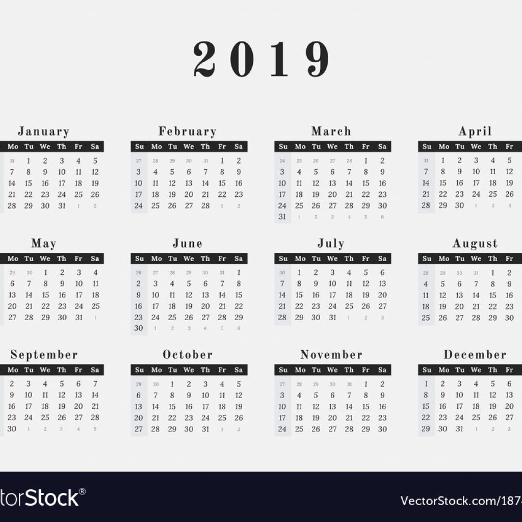 2019 Full Year Calendar With Horizontal Design Royalty Free Vector