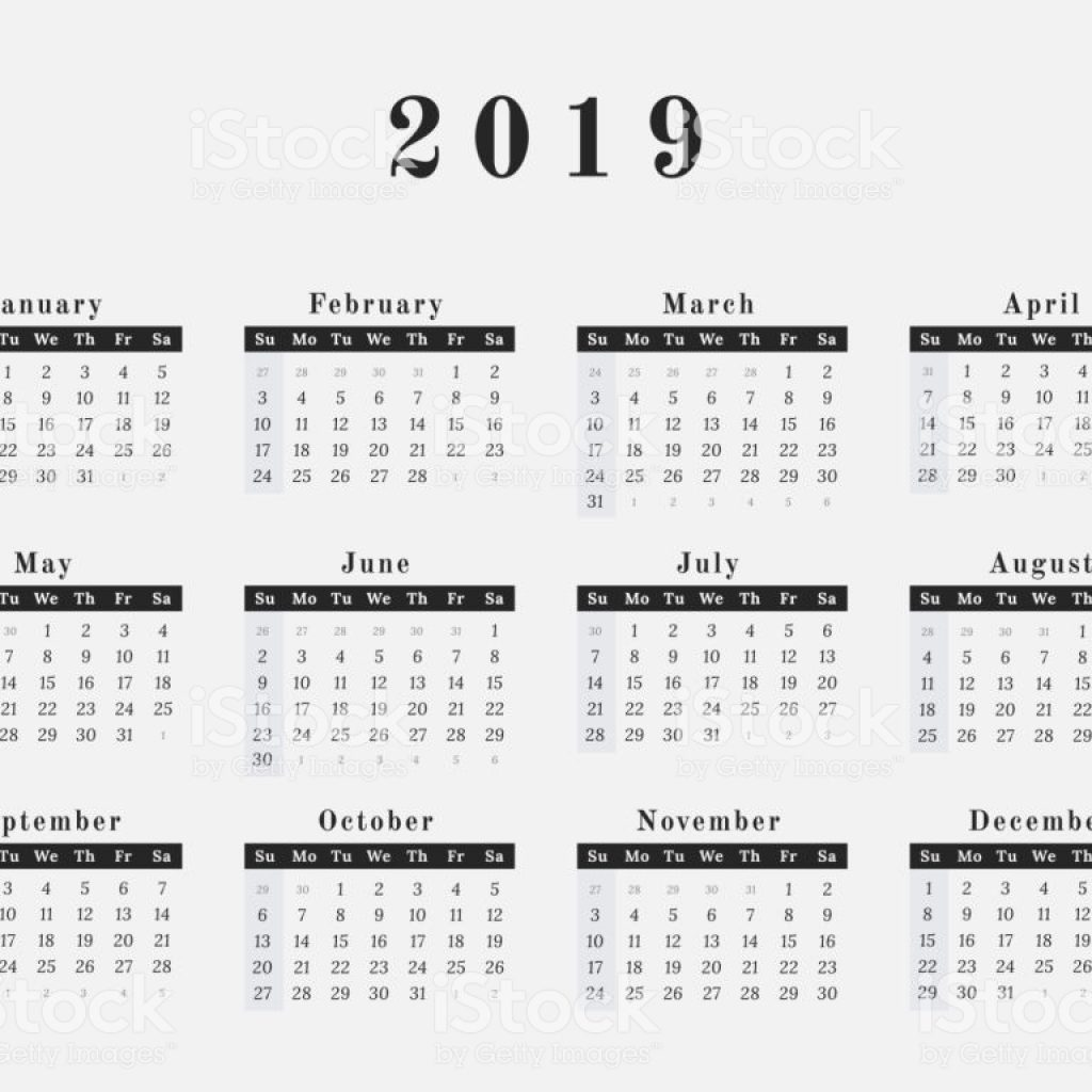 2019 Full Year Calendar With Horizontal Design Stock Vector Art More Images