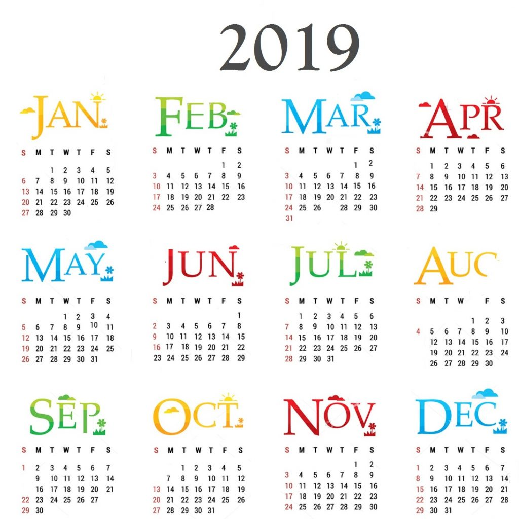 2019 Full Year Calendar With New Pdf Free Printable 2018 Template Word