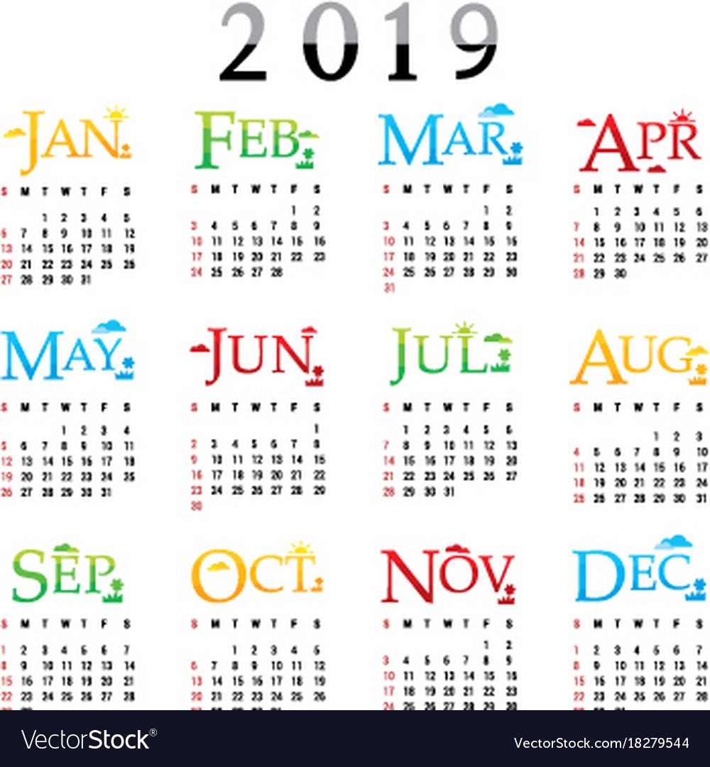 2019 Full Year Calendar With Planner Happy New Royalty Free Vector