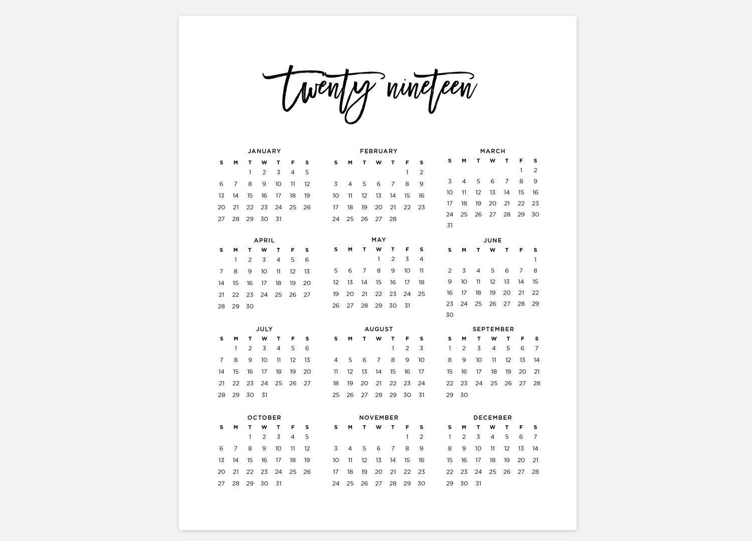 2019 Full Year Calendar With Simple Etsy