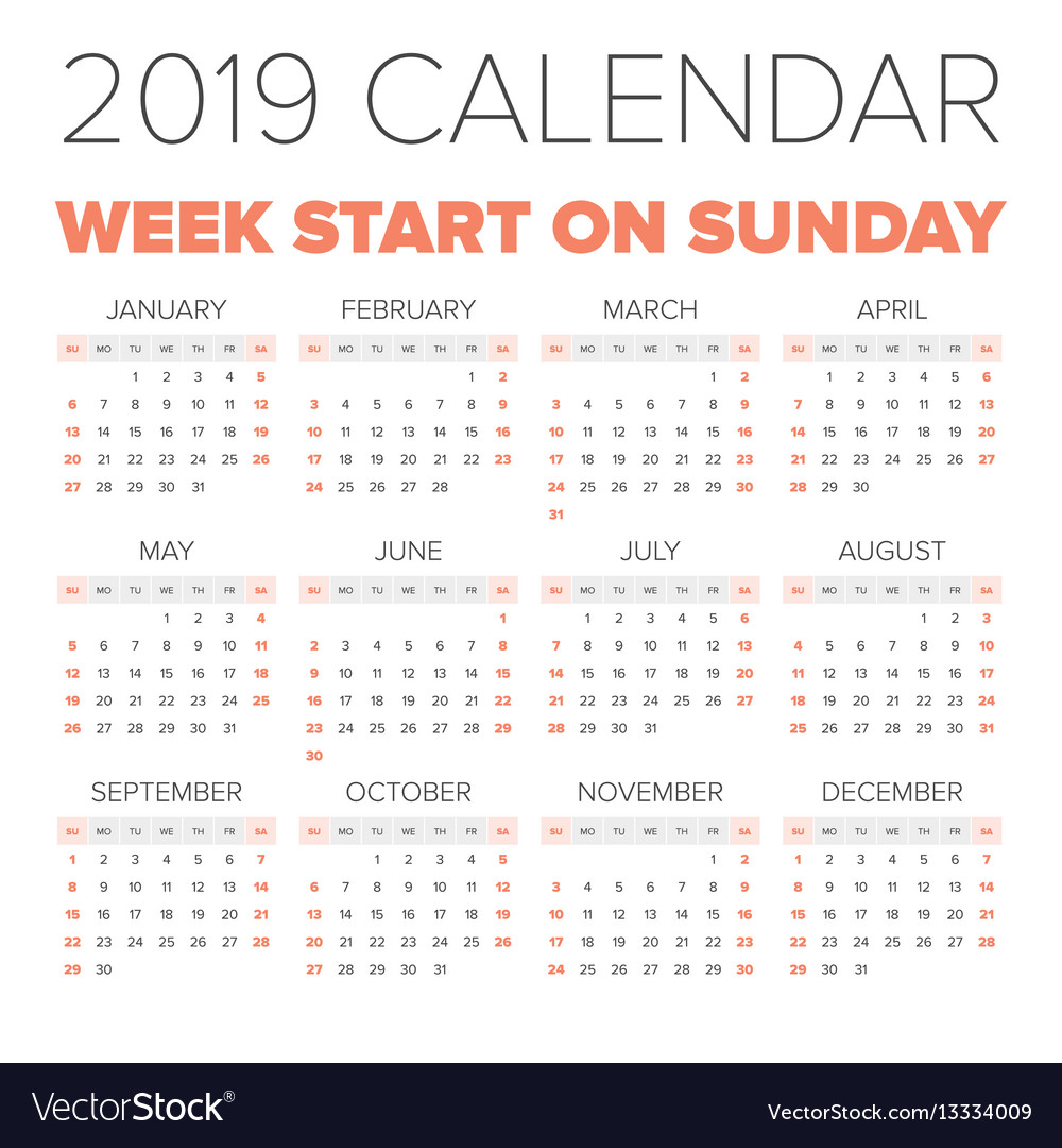 2019 Full Year Calendar With Simple Royalty Free Vector Image