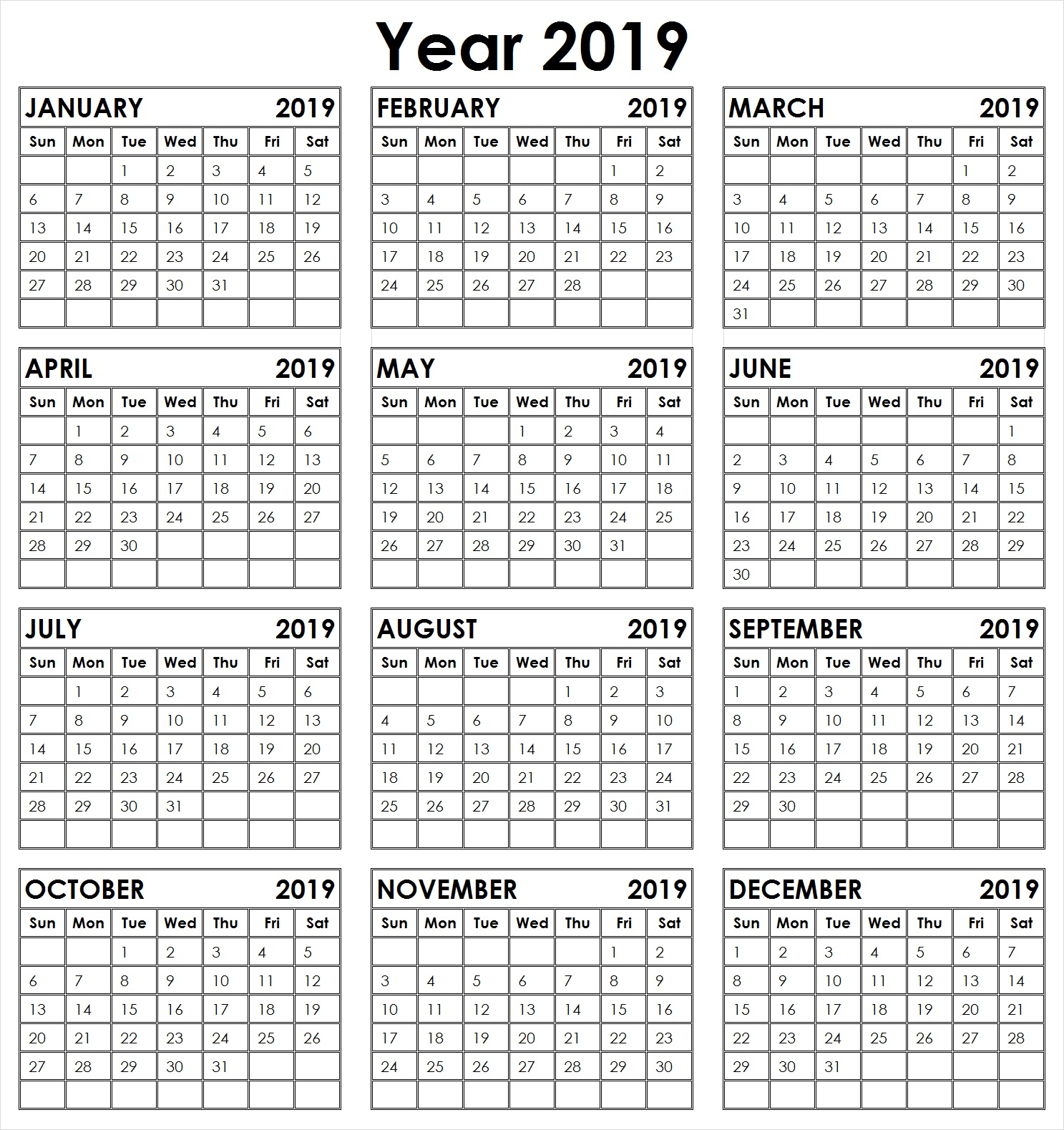 2019 Full Year Calendar With Yearly 12 Month Printable