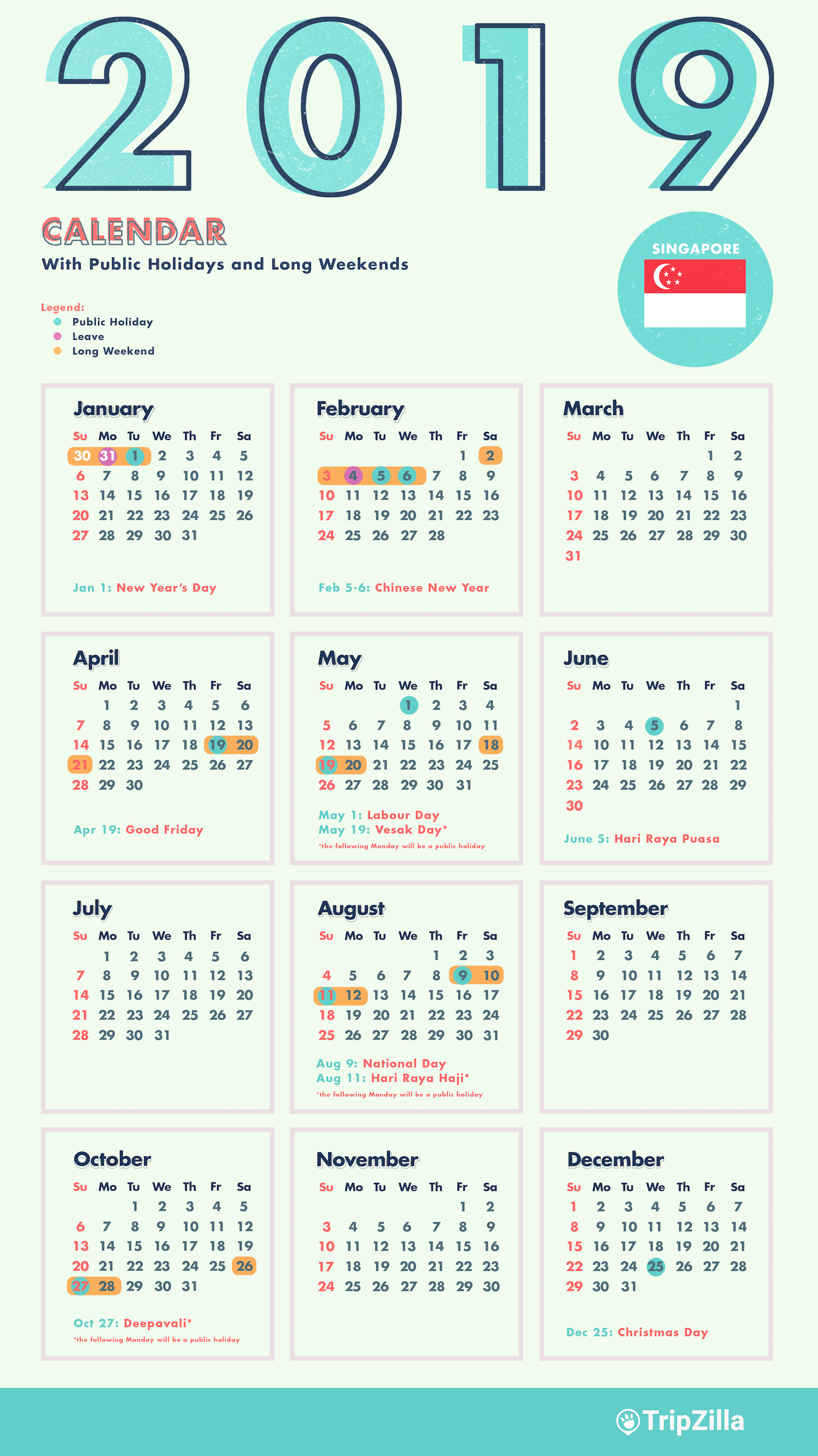 2019 Leave Year Calendar With 6 Long Weekends In Singapore Bonus Cheatsheet
