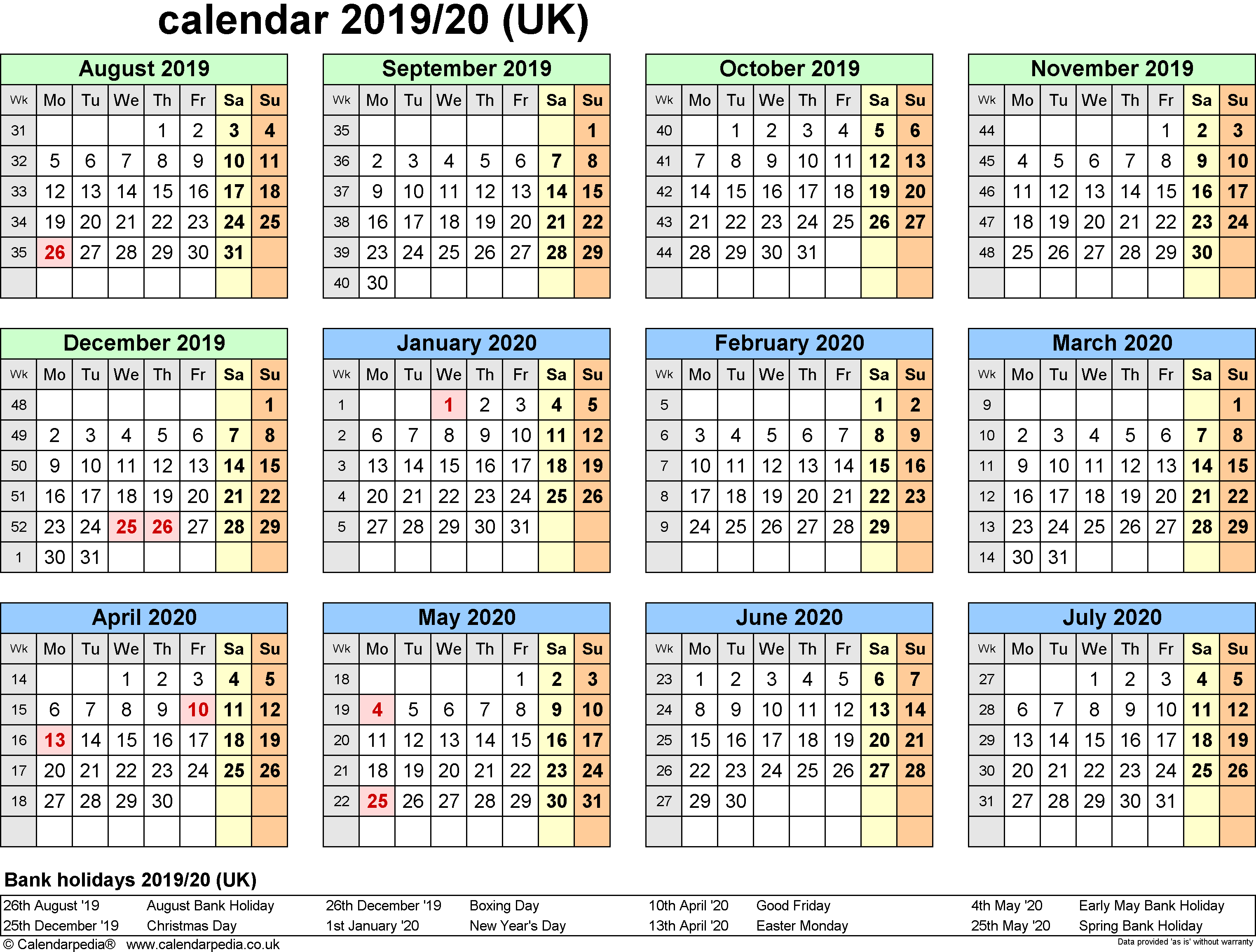 2019 Leave Year Calendar With Free Yearly UK National Holidays Templates Download