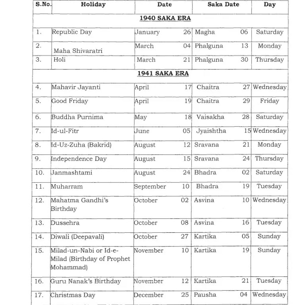2019 Leave Year Calendar With List Of Holidays Gazetted Central Government