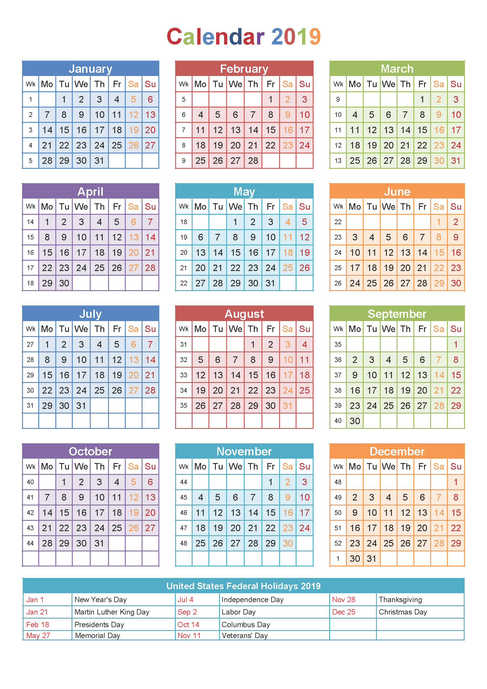 2019 Leave Year Calendar With Printable Free Templates