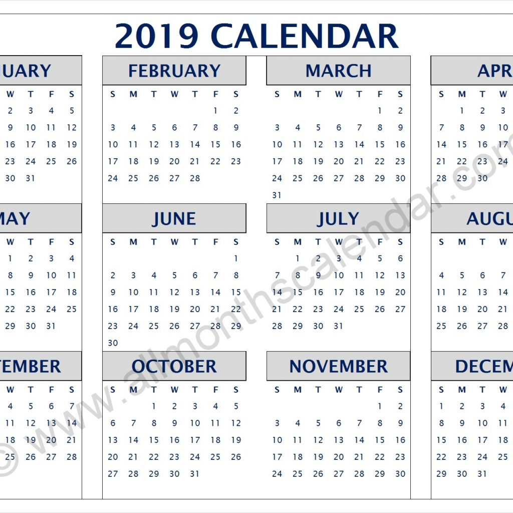 2019 Leave Year Calendar With Yearly PDF 12 Month Printable