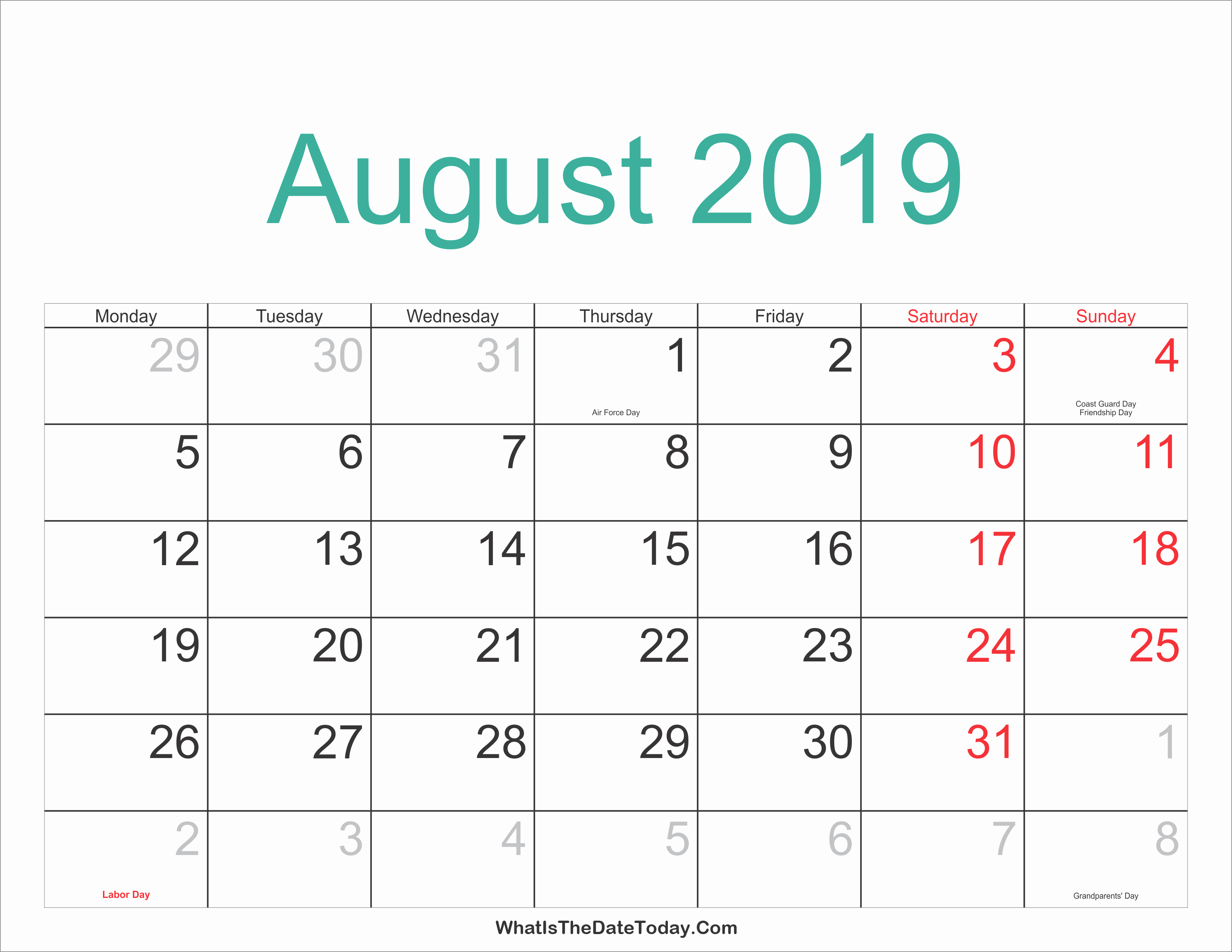 2019 Printable Year Calendar With Holidays August
