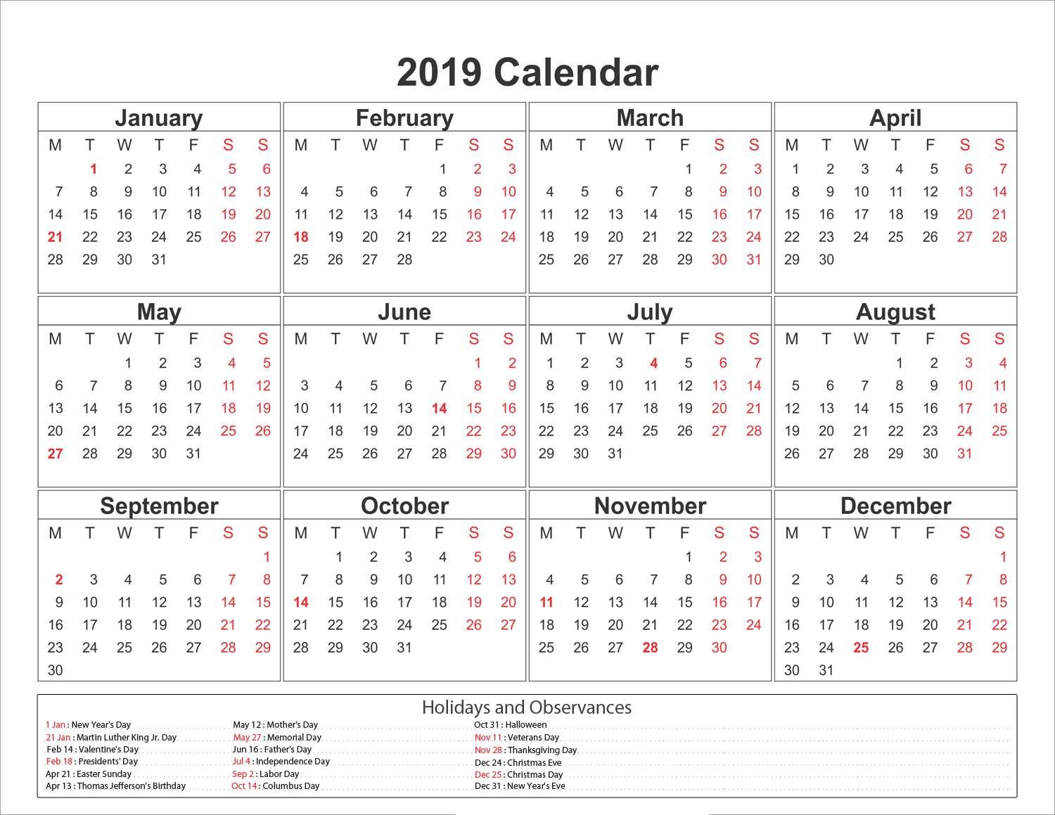 2019 Printable Year Calendar With Holidays Blank Printableshelter