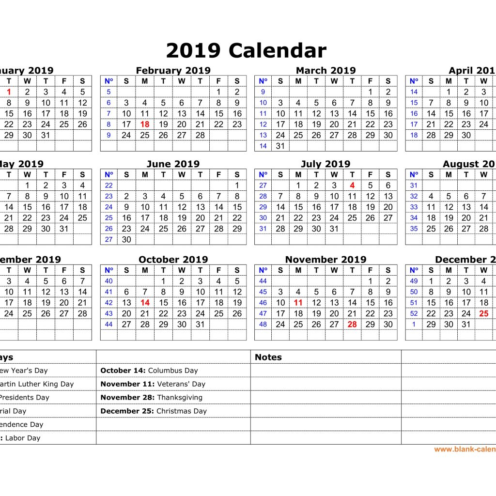 2019 Printable Year Calendar With Holidays Free Download US Federal One