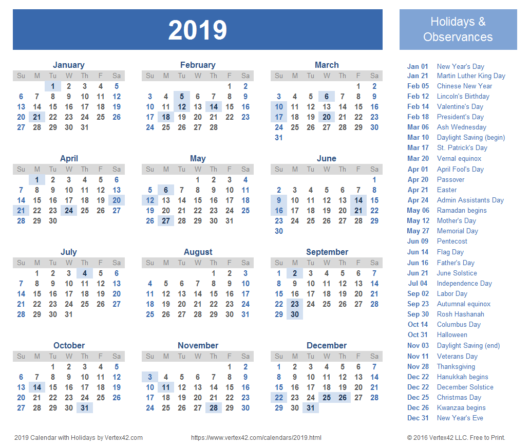 2019 Printable Year Calendar With Holidays Templates And Images
