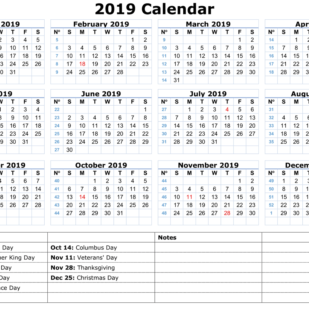 2019 Printable Year Calendar With Holidays Templates Online
