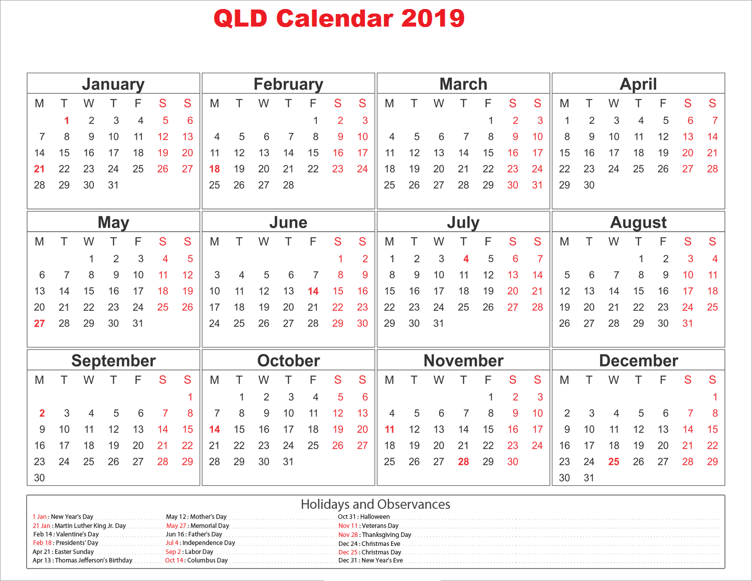 2019 Qld School Year Calendar With Blank Holidays QLD Queensland Templates