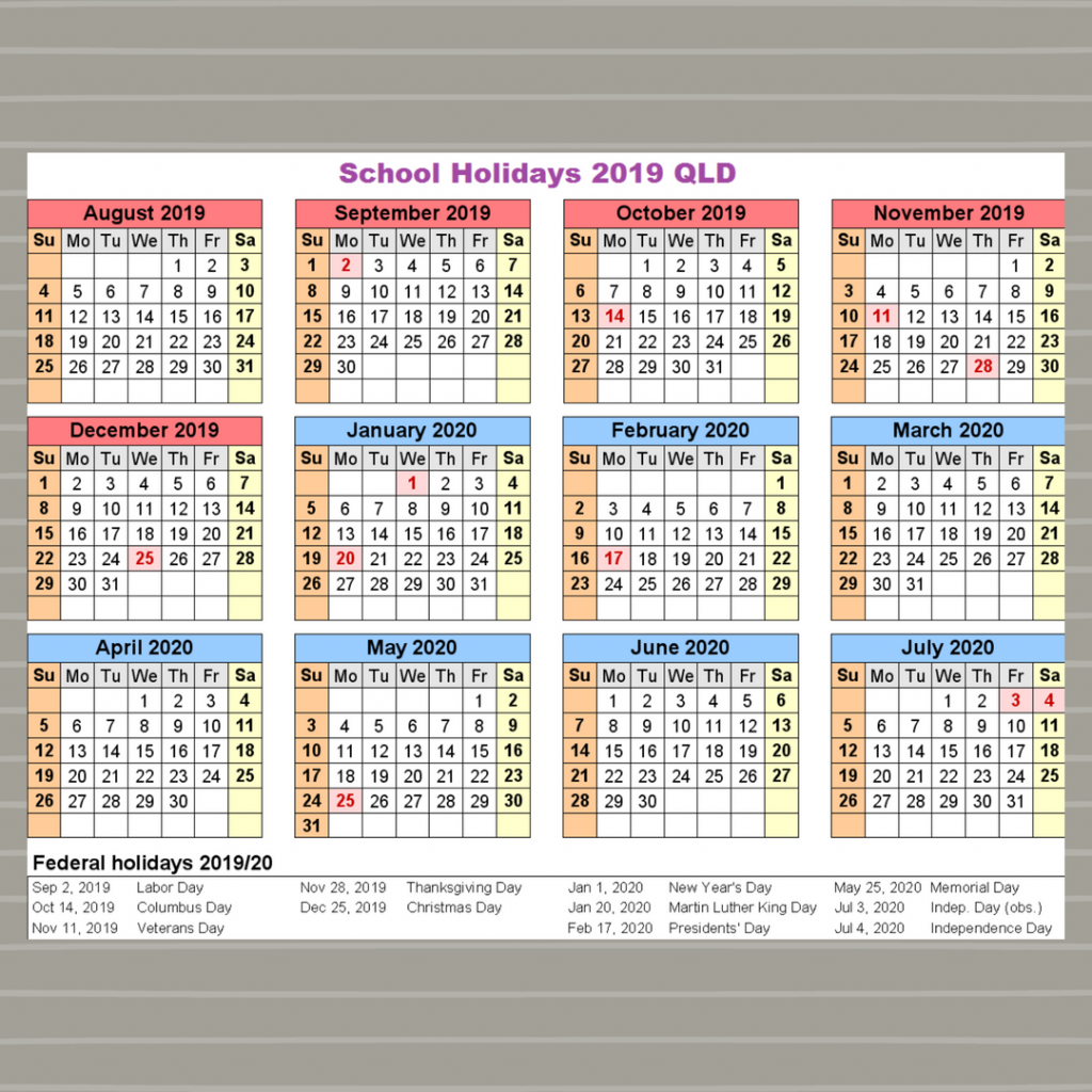 2019 Qld School Year Calendar With Blank Printable Holidays QLD Queensland