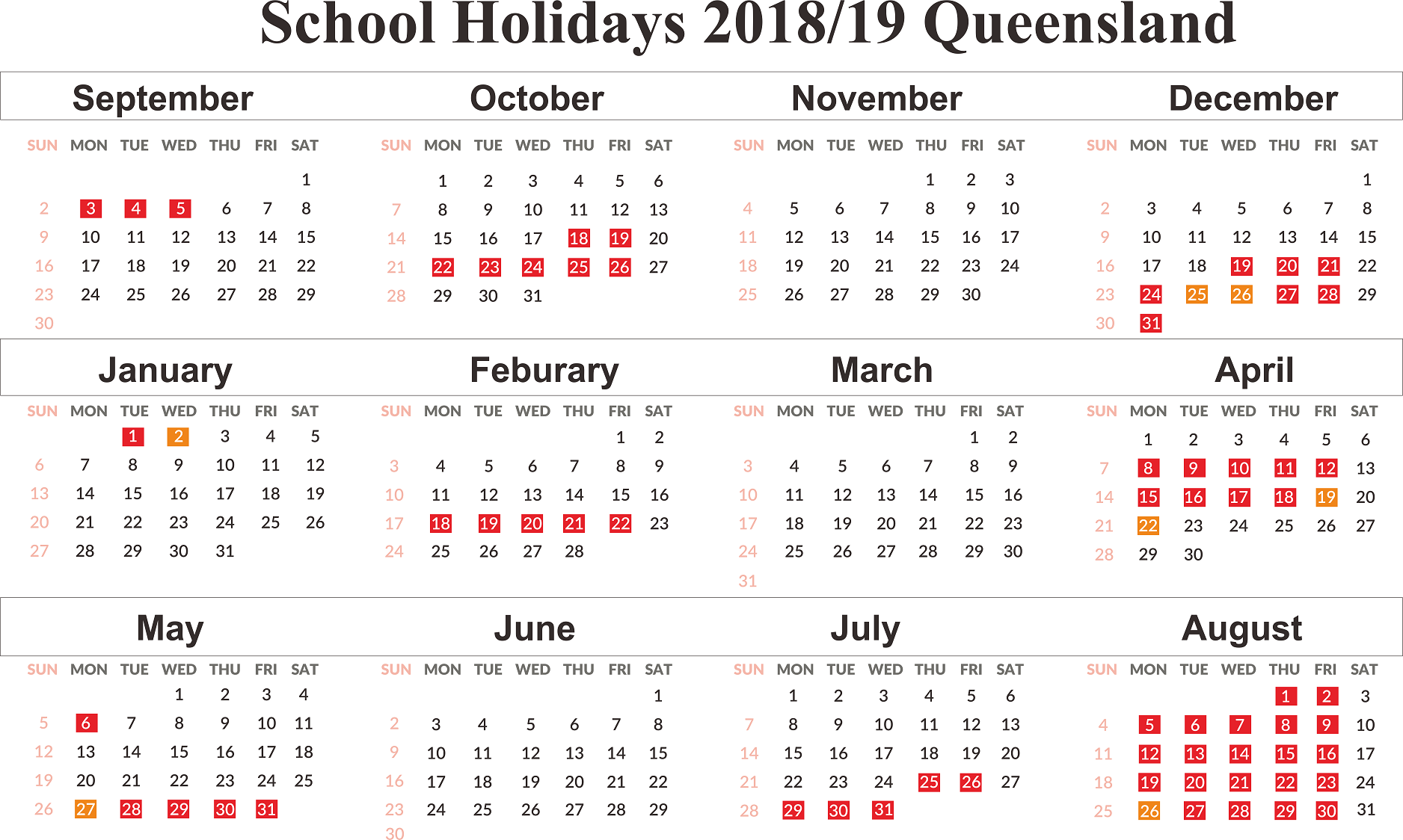 2019 Qld School Year Calendar With Free Download Holidays QLD Queensland