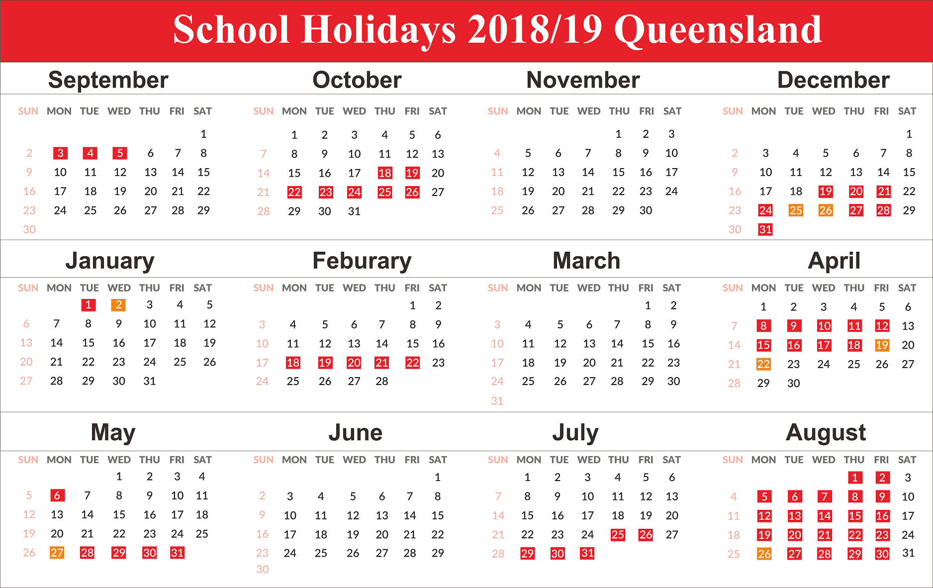2019 Qld School Year Calendar With Free Editable Holidays QLD Queensland