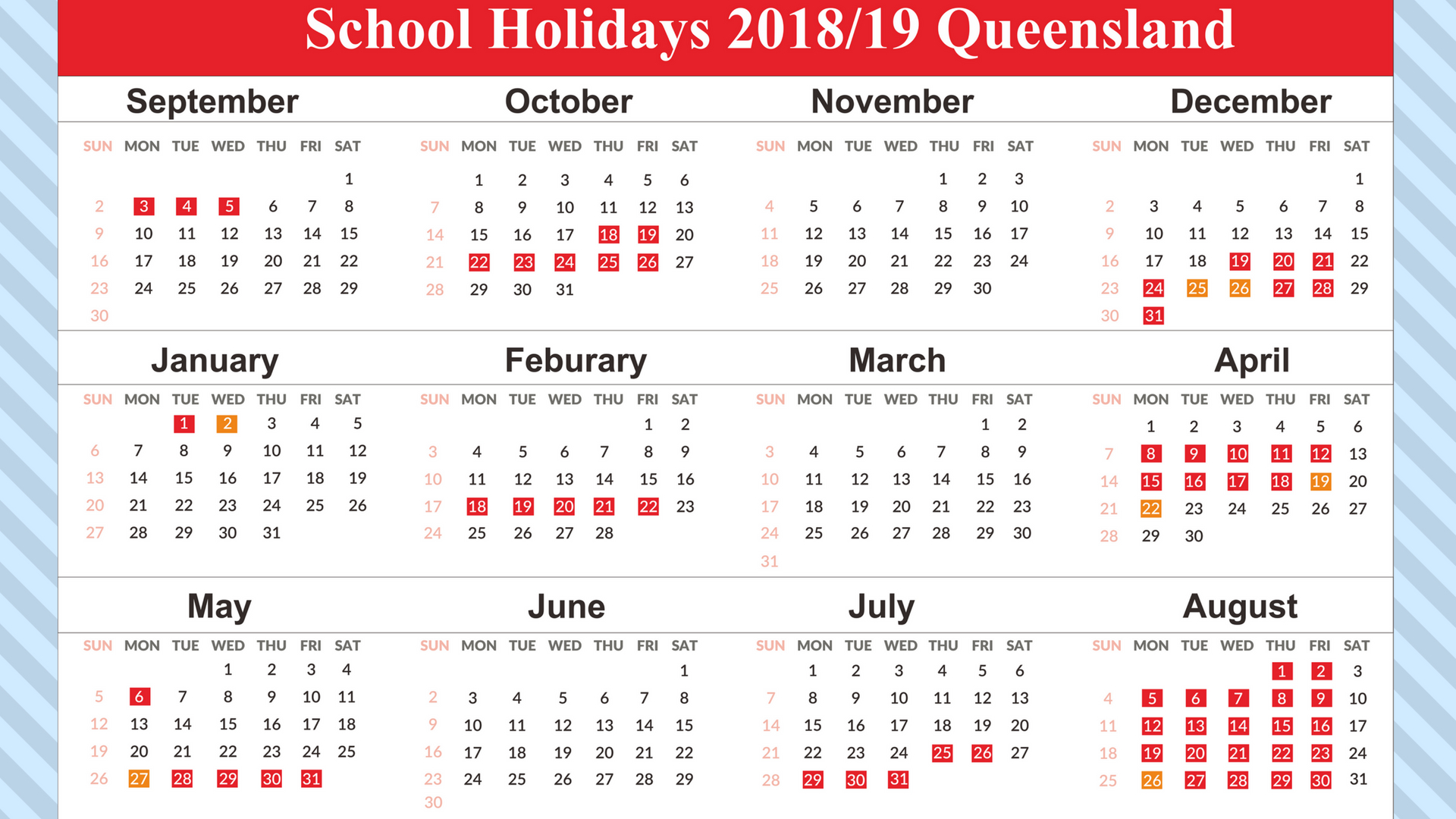 2019 Qld School Year Calendar With Free Holidays QLD Queensland Download