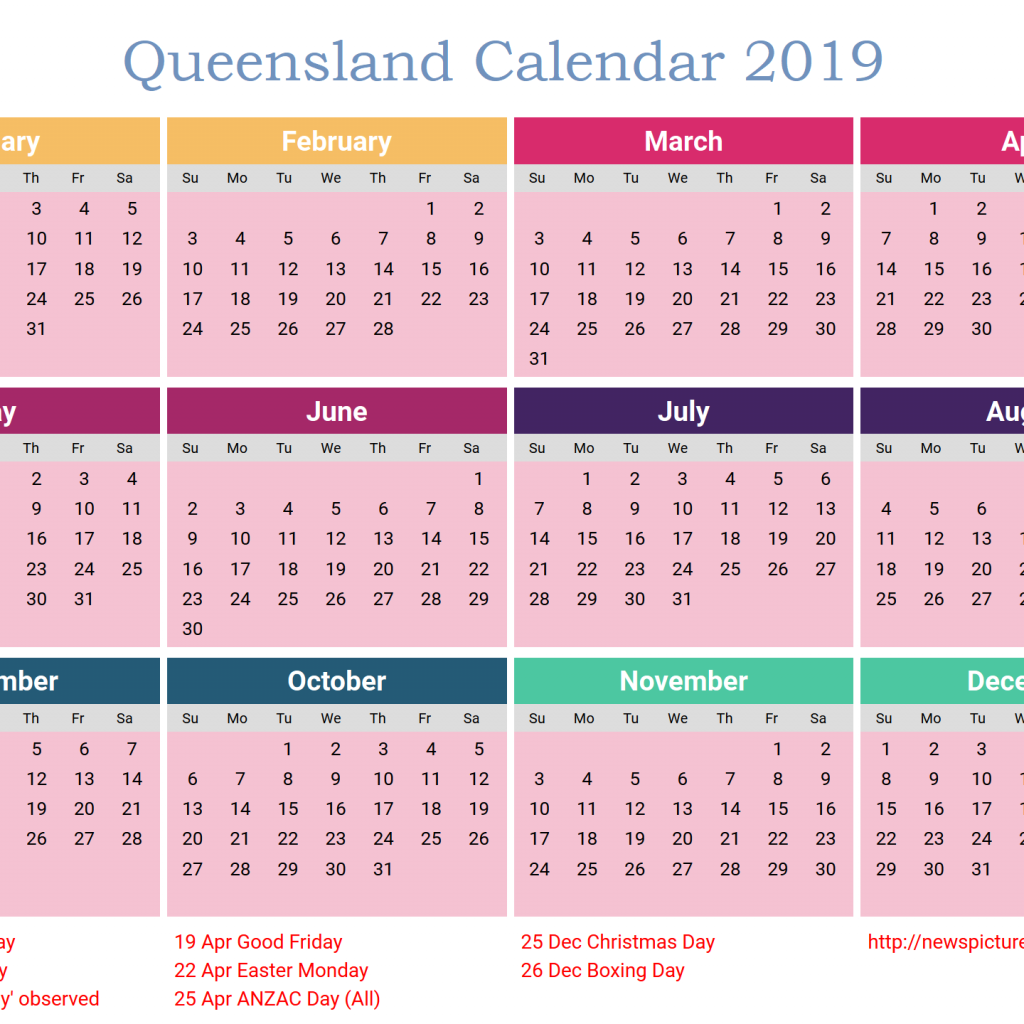 2019 Qld School Year Calendar With Free QLD Template PDF Excel Word Templates Public
