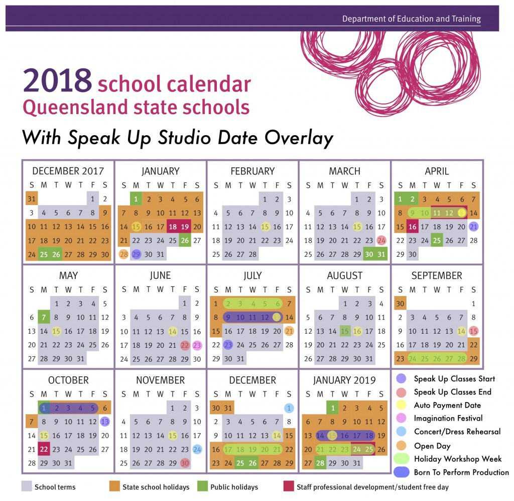 2019 Qld School Year Calendar With Holidays Printable Coloring Page For Kids