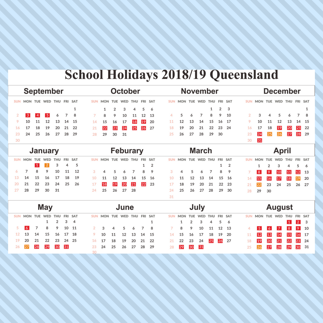 2019 Qld School Year Calendar With Printable Free Holidays UK USA QLD NZ