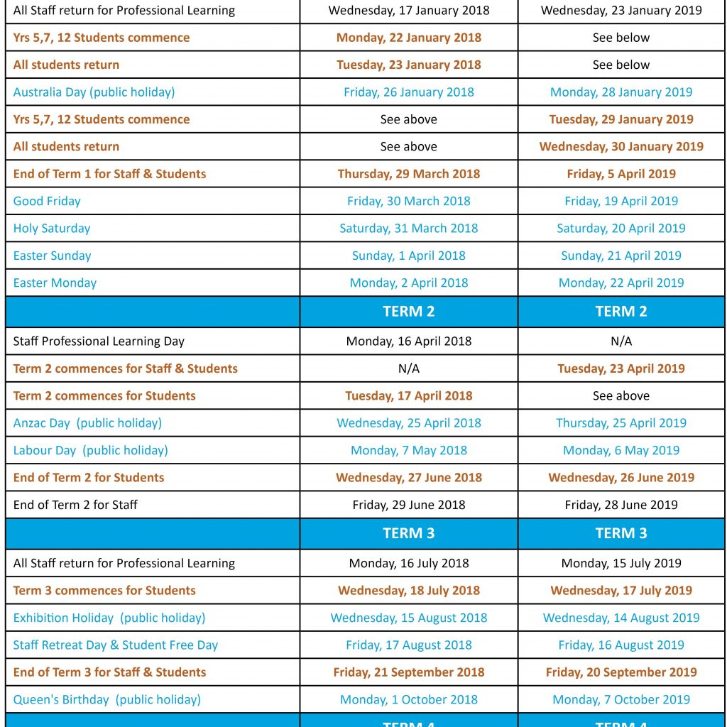 2019 Qld School Year Calendar With Term Dates All Hallows