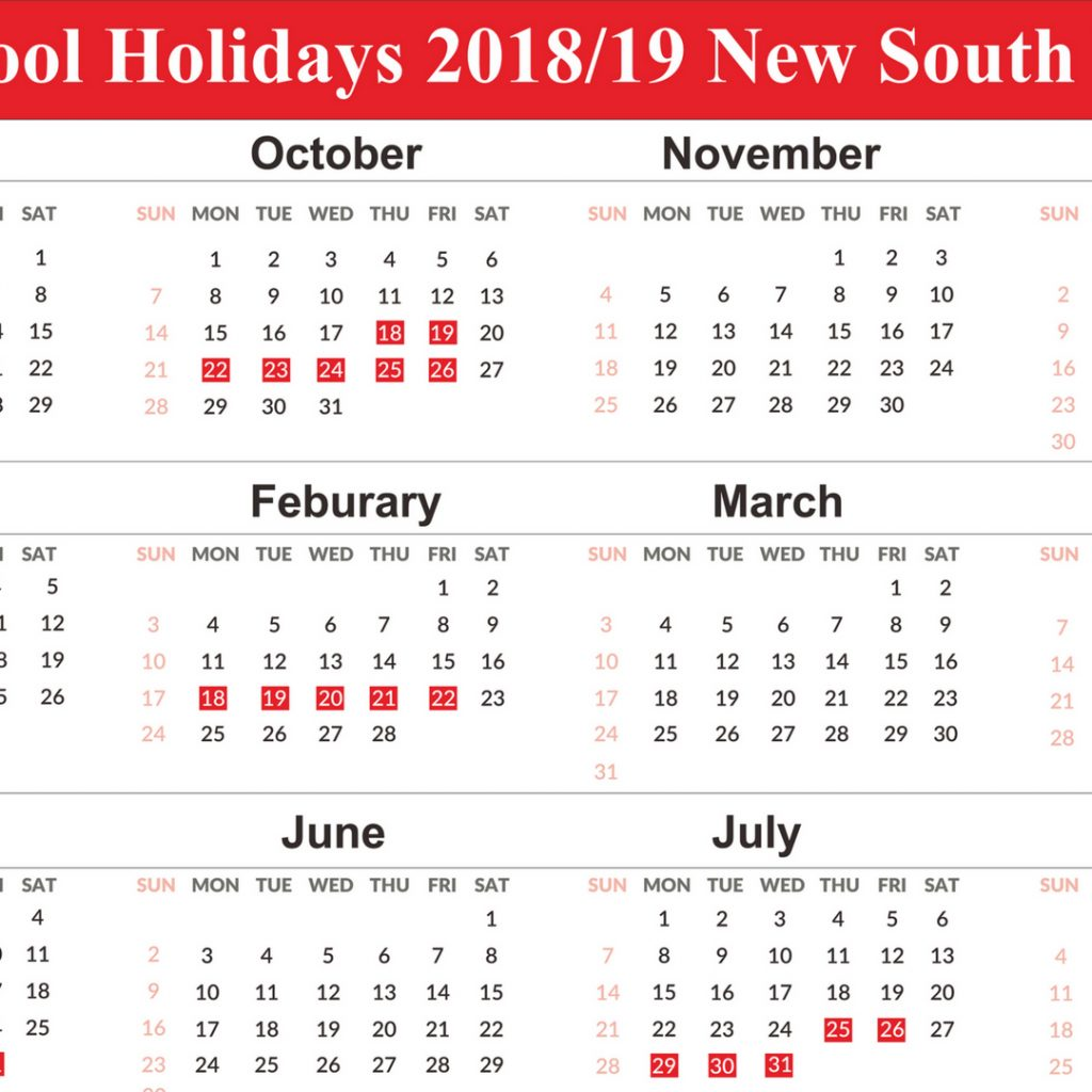 2019 School Year Calendar Nsw With Holidays NSW Templates Free September 2018