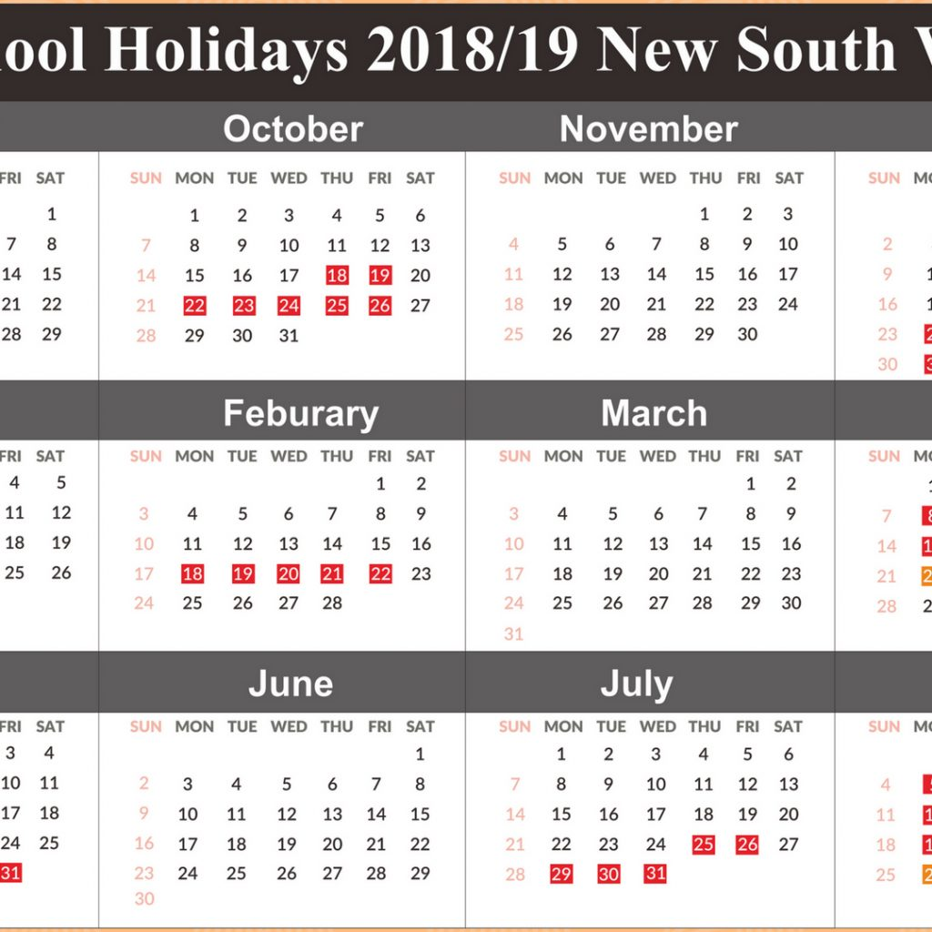 2019 School Year Calendar Nsw With Template Free Holidays NSW Templates
