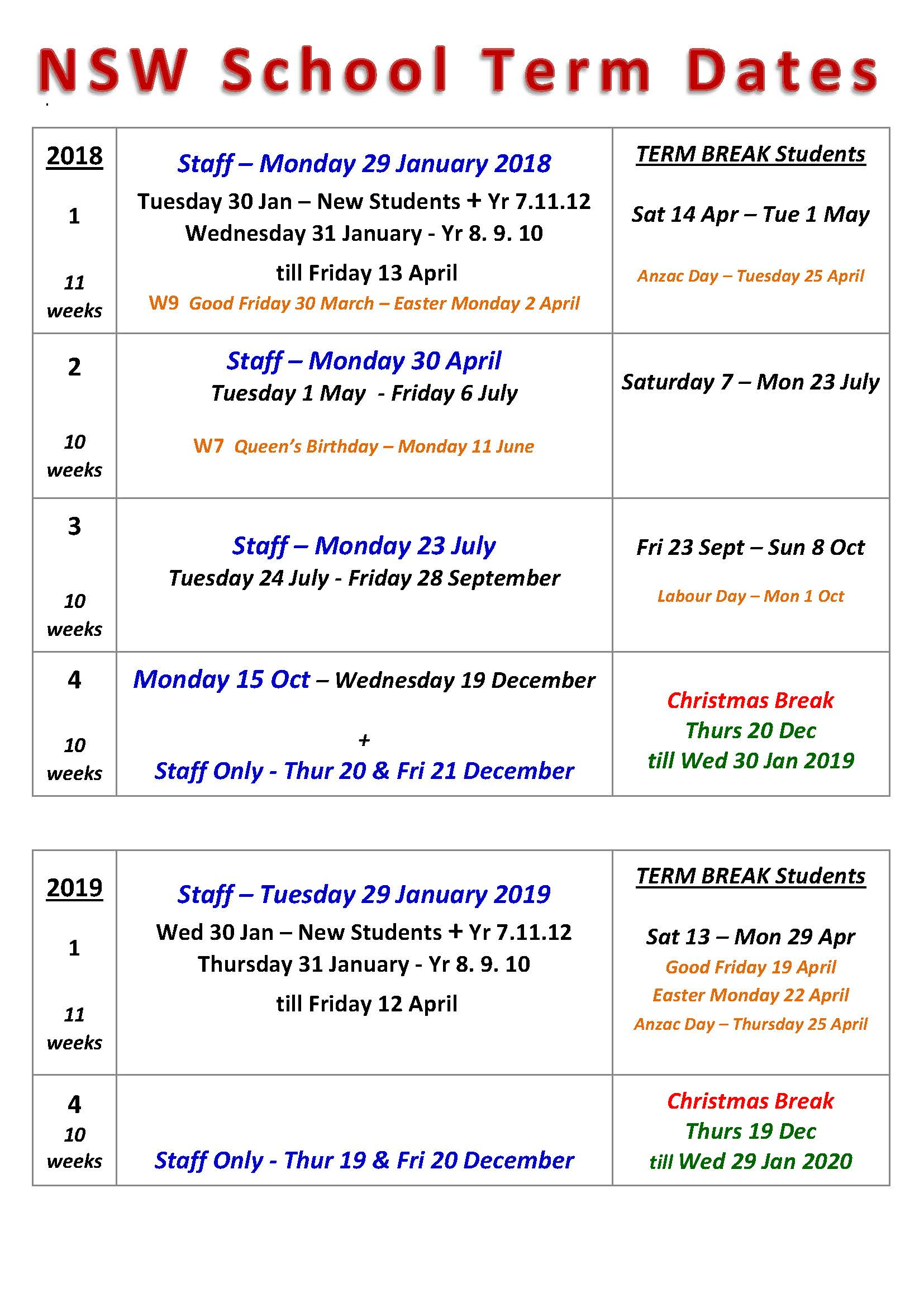 2019 School Year Calendar Nsw With Term Dates Chatswood High