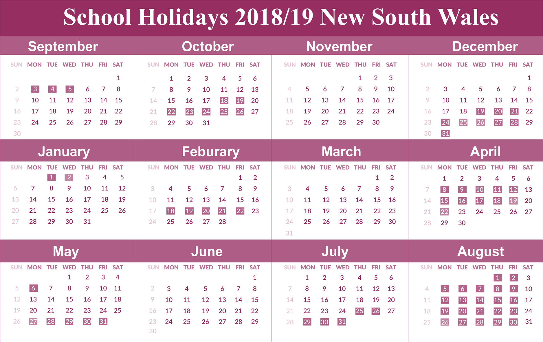 2019 School Year Calendar Nsw With Yearly Holidays NSW Templates DownLoad July