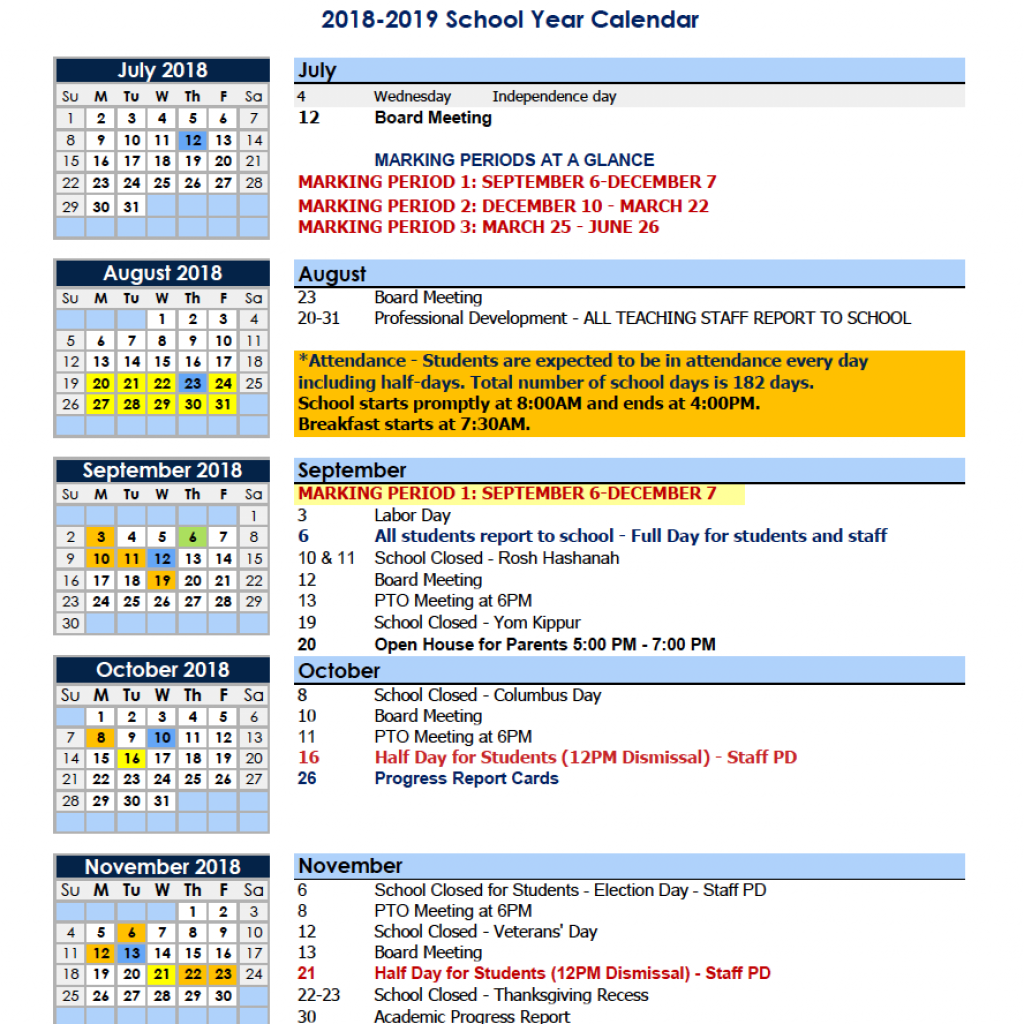 2019 School Year Calendar Nyc With Calendars Parents Charter Of Educational Excellence