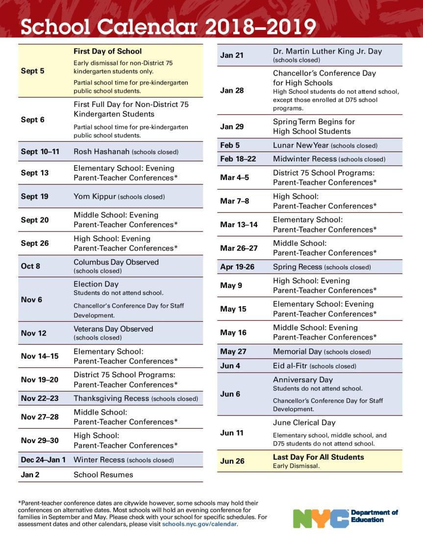 2019 School Year Calendar Nyc With NEW 2018 NYCDOE Myrna P Rez Fung S 188Q