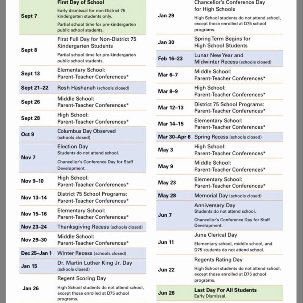 2019 School Year Calendar Nyc With PS IS 217 PTA