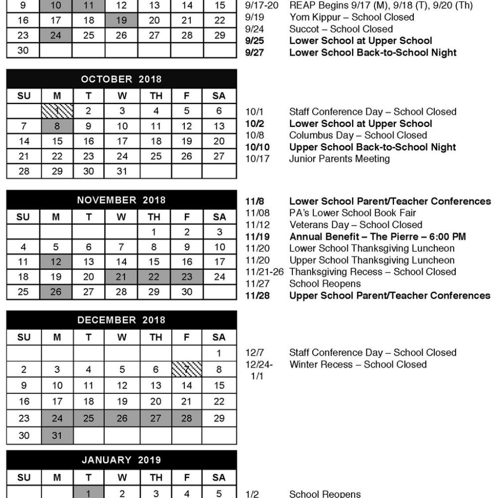 2019 School Year Calendar Nyc With The Summit