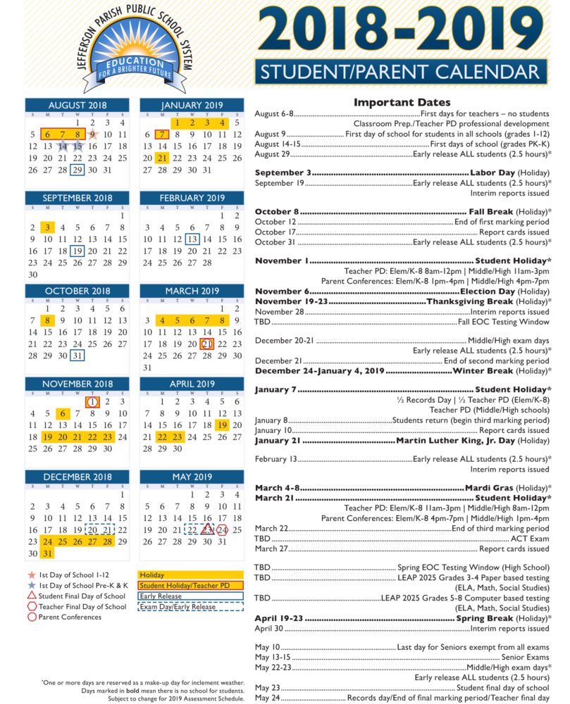 2019 School Year Calendar Nyc With View Our 2018 19 Academic Jefferson Parish Public