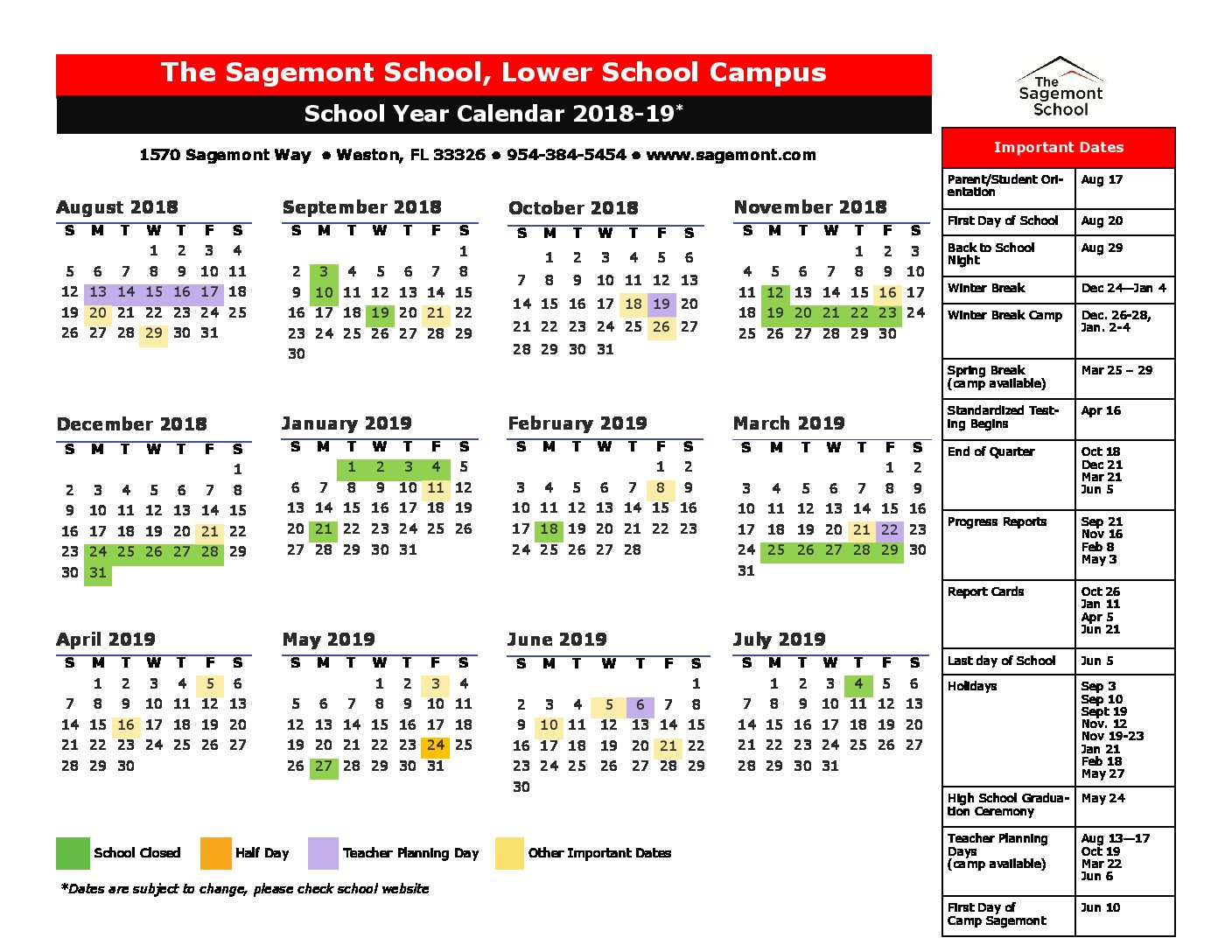 2019 School Year Calendar Template With 7001 FINAL Proposed Sagemont 2018
