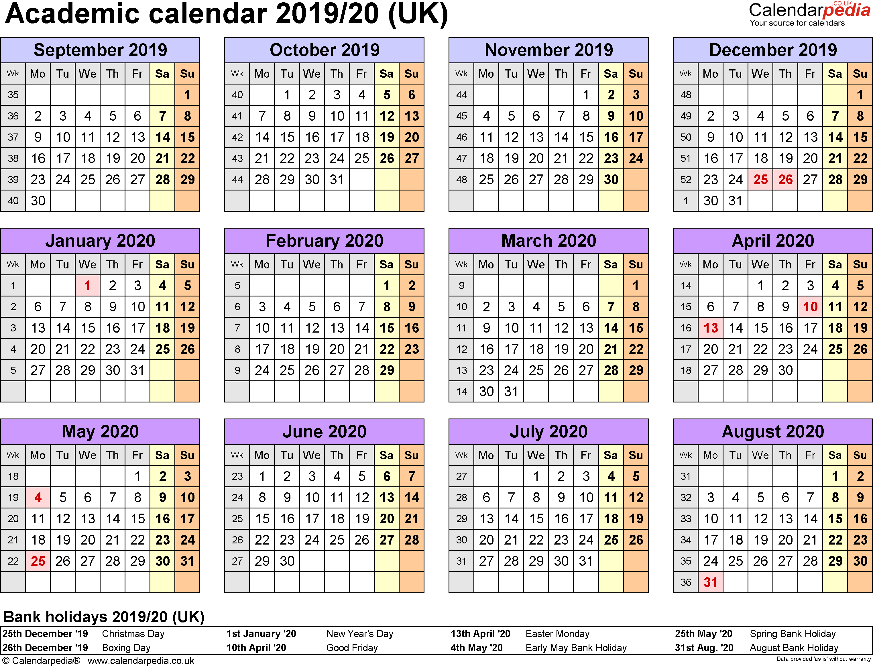 2019 School Year Calendar Template With Academic Calendars 2020 As Free Printable Word Templates