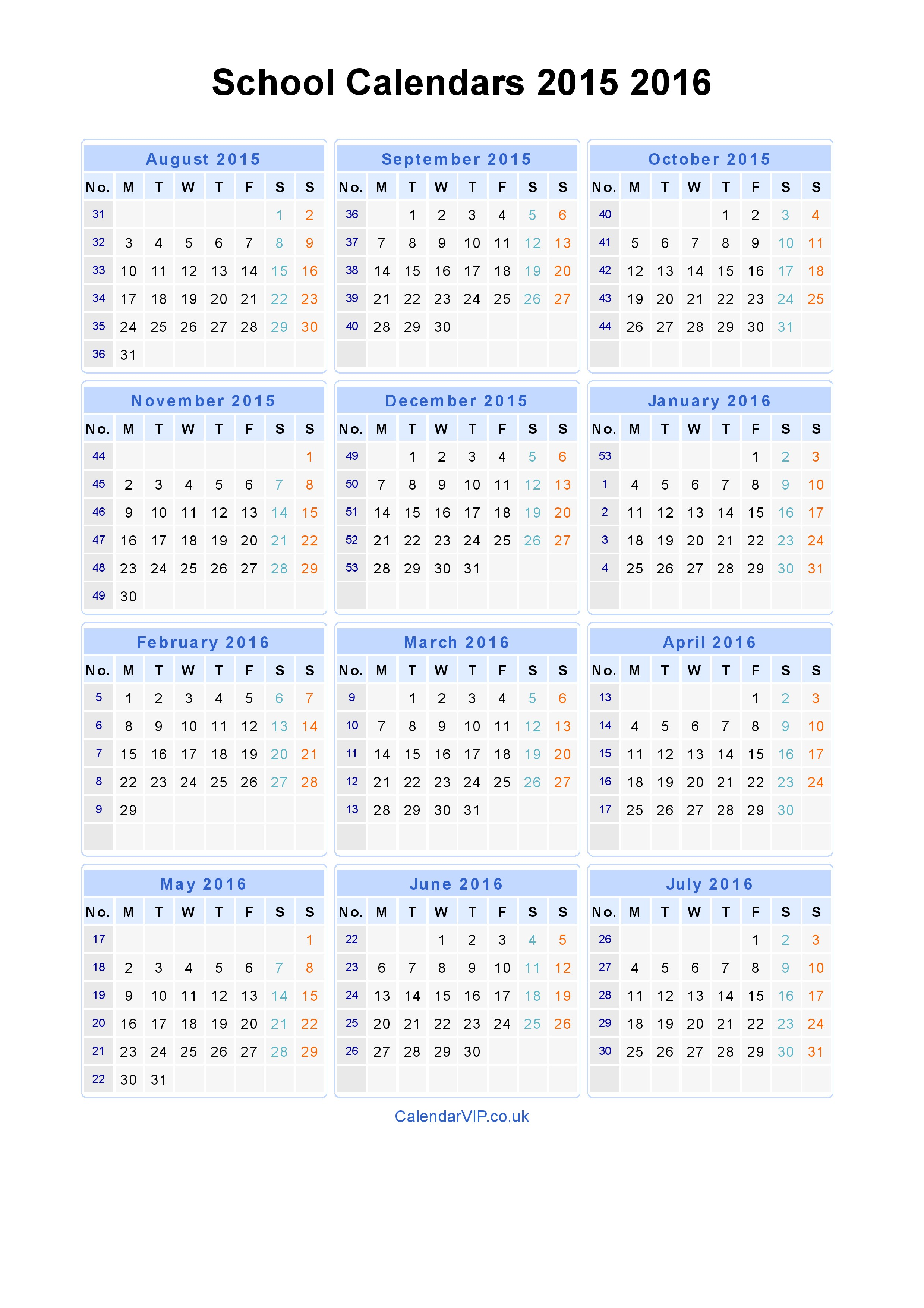 2019 School Year Calendar Template With Calendars 2015 2016 From August To July