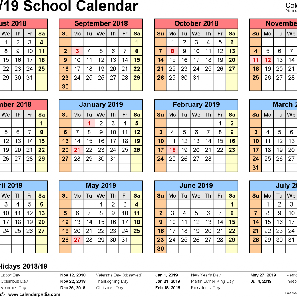 2019 School Year Calendar Template With Calendars 2018 As Free Printable Word Templates