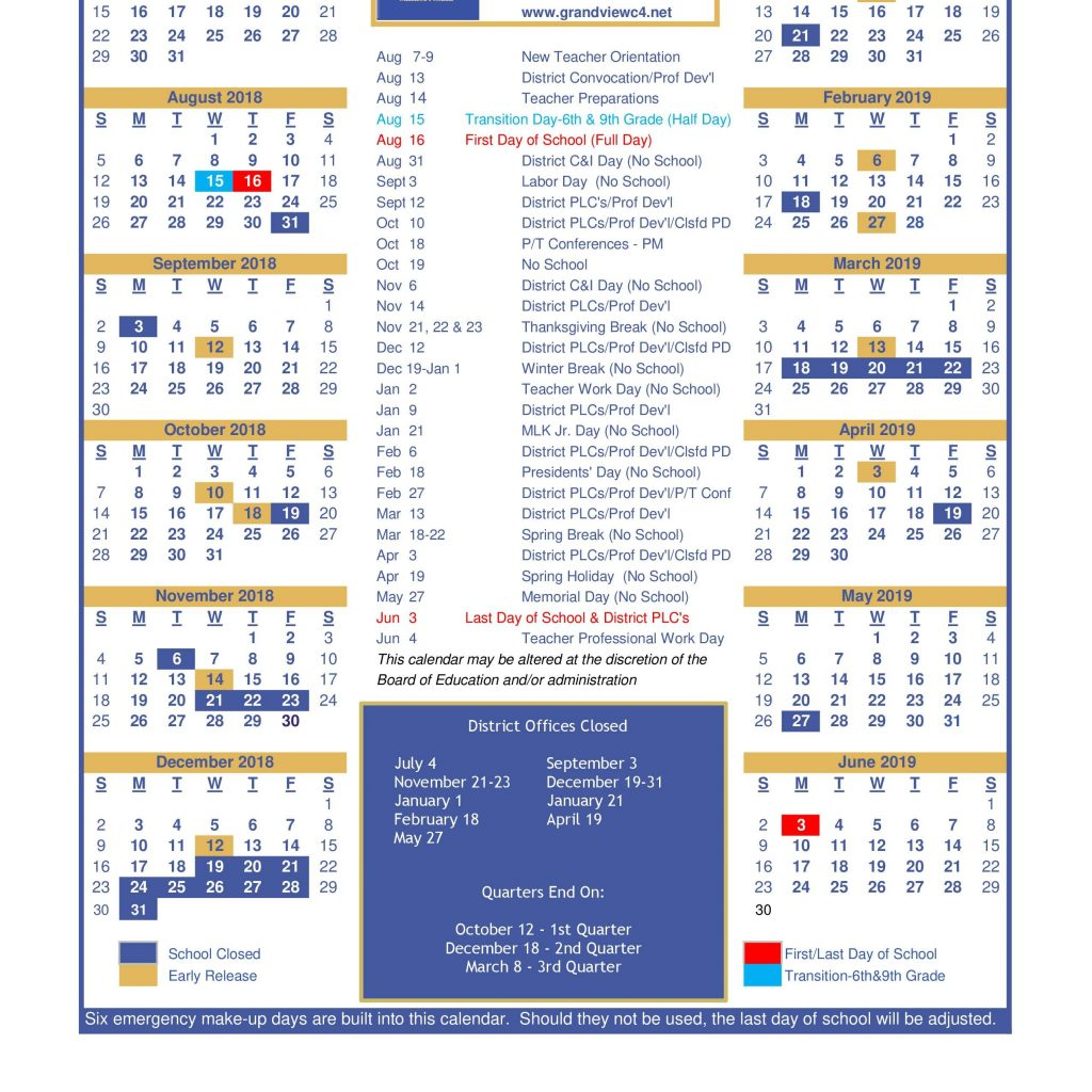 2019 School Year Calendar Template With District Grandview C 4
