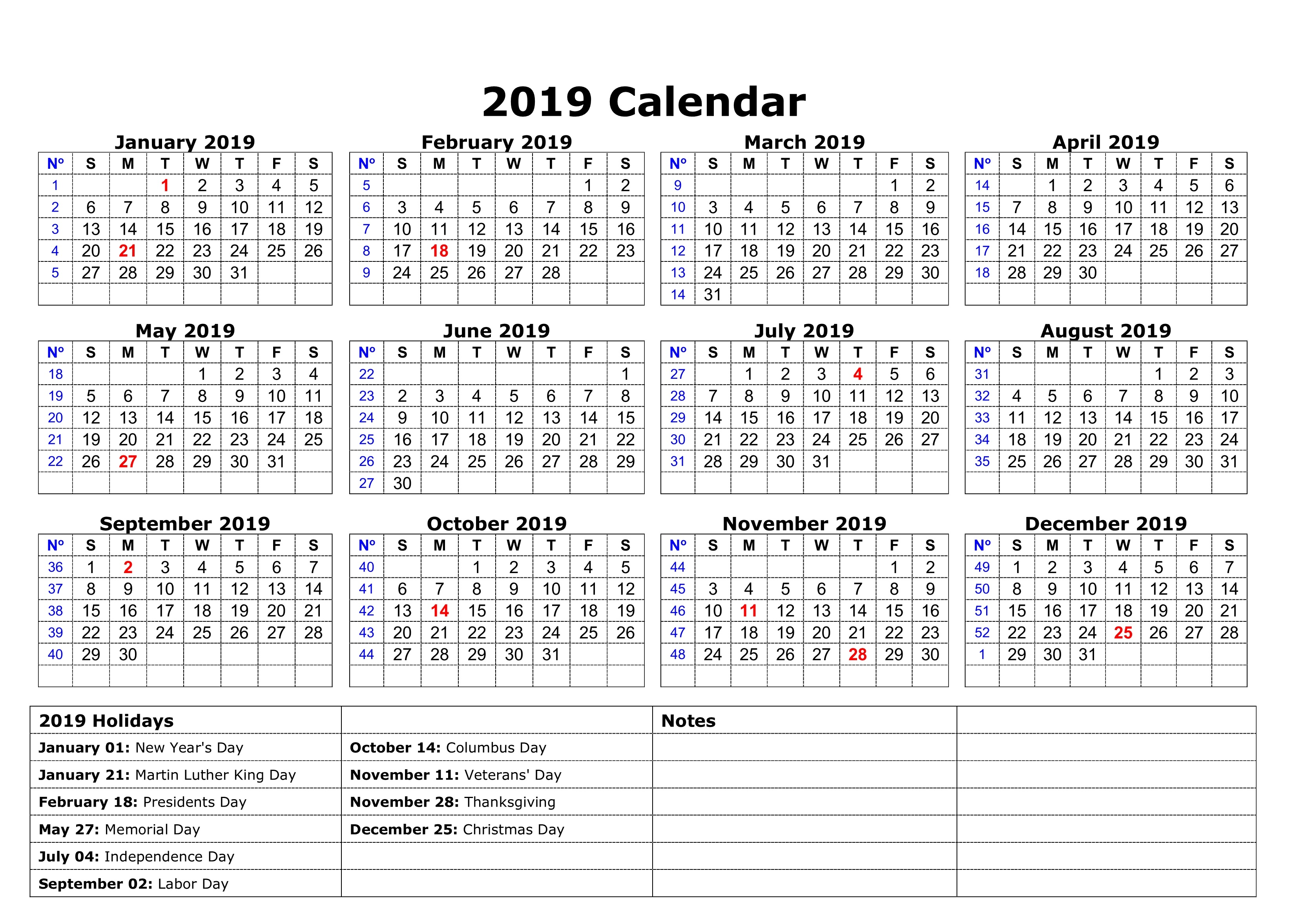 2019 School Year Calendar Template With Download Printable A4 Yearly USA Holidays