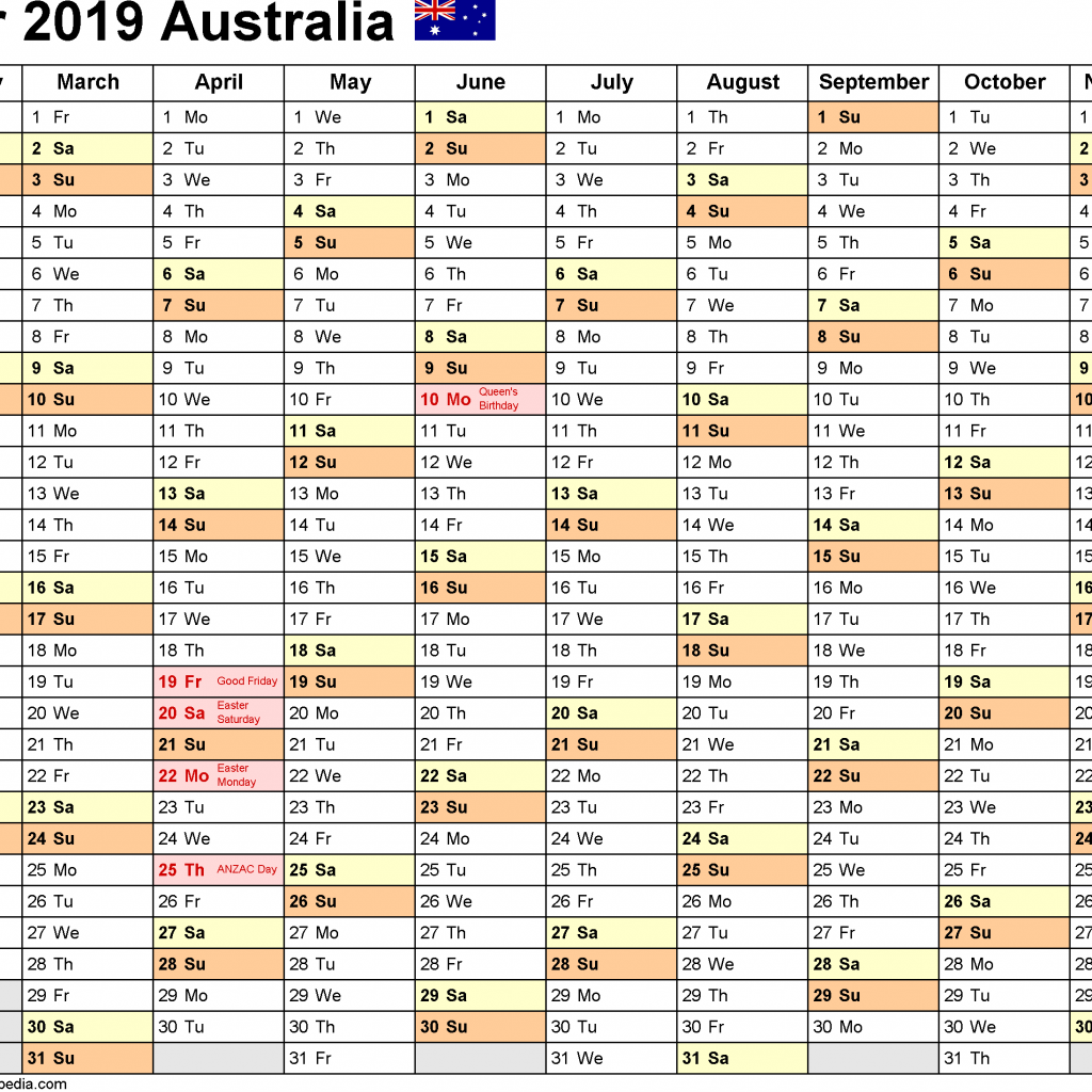 2019 School Year Calendar Victoria With Australia Free Printable Excel Templates