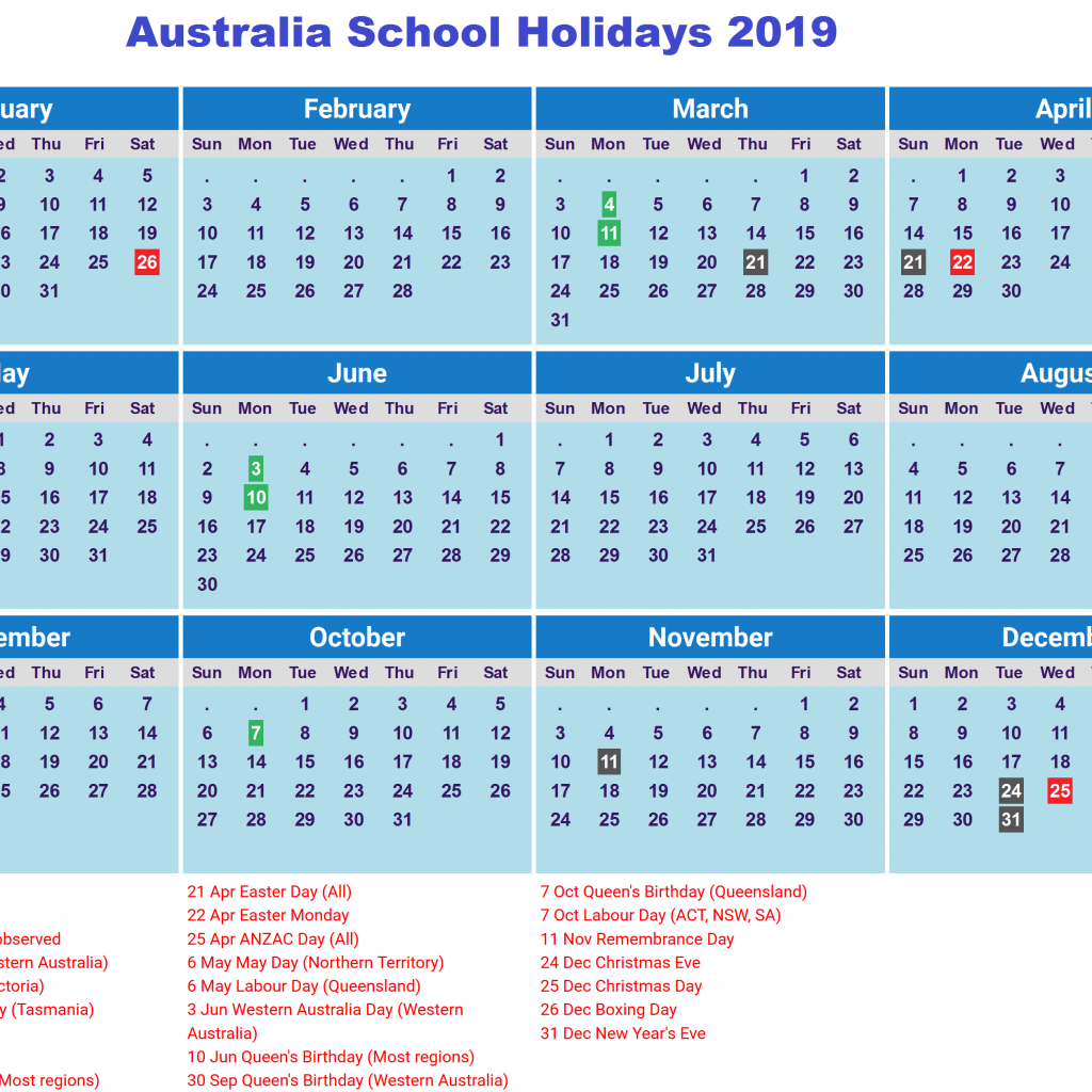 2019 School Year Calendar Victoria With Free Holidays Australia PDF Templates July