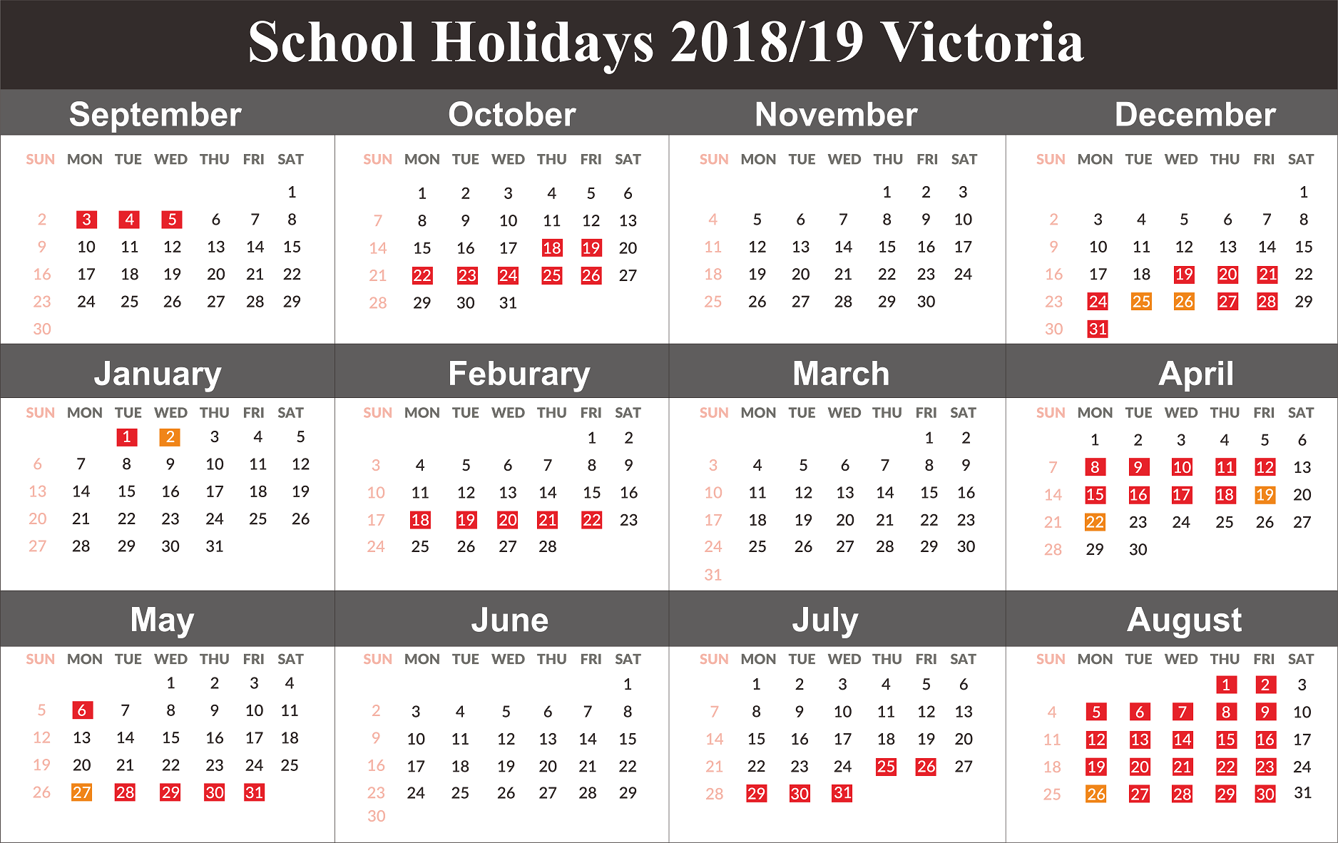 2019 School Year Calendar Victoria With Free Holidays Templates April 2018