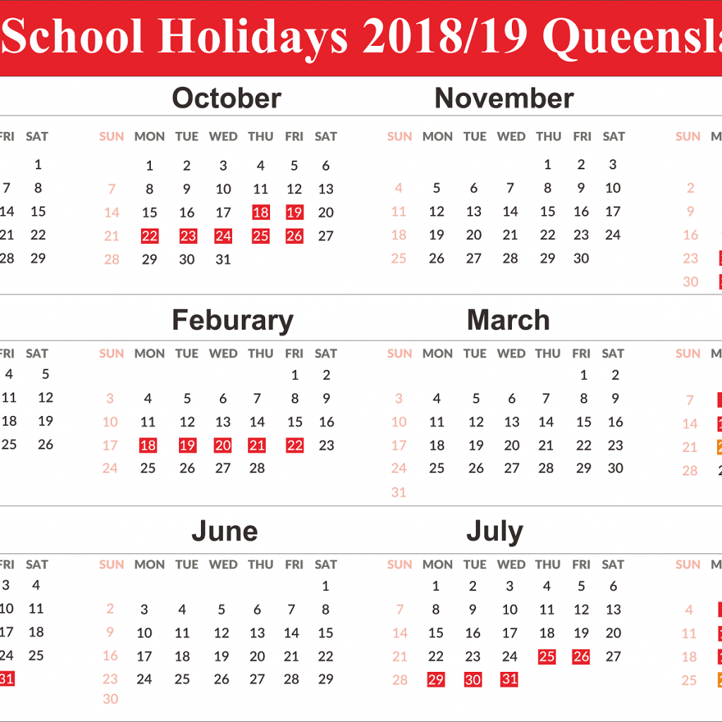 2019 School Year Calendar Victoria With Free QLD Queensland Holidays Templates