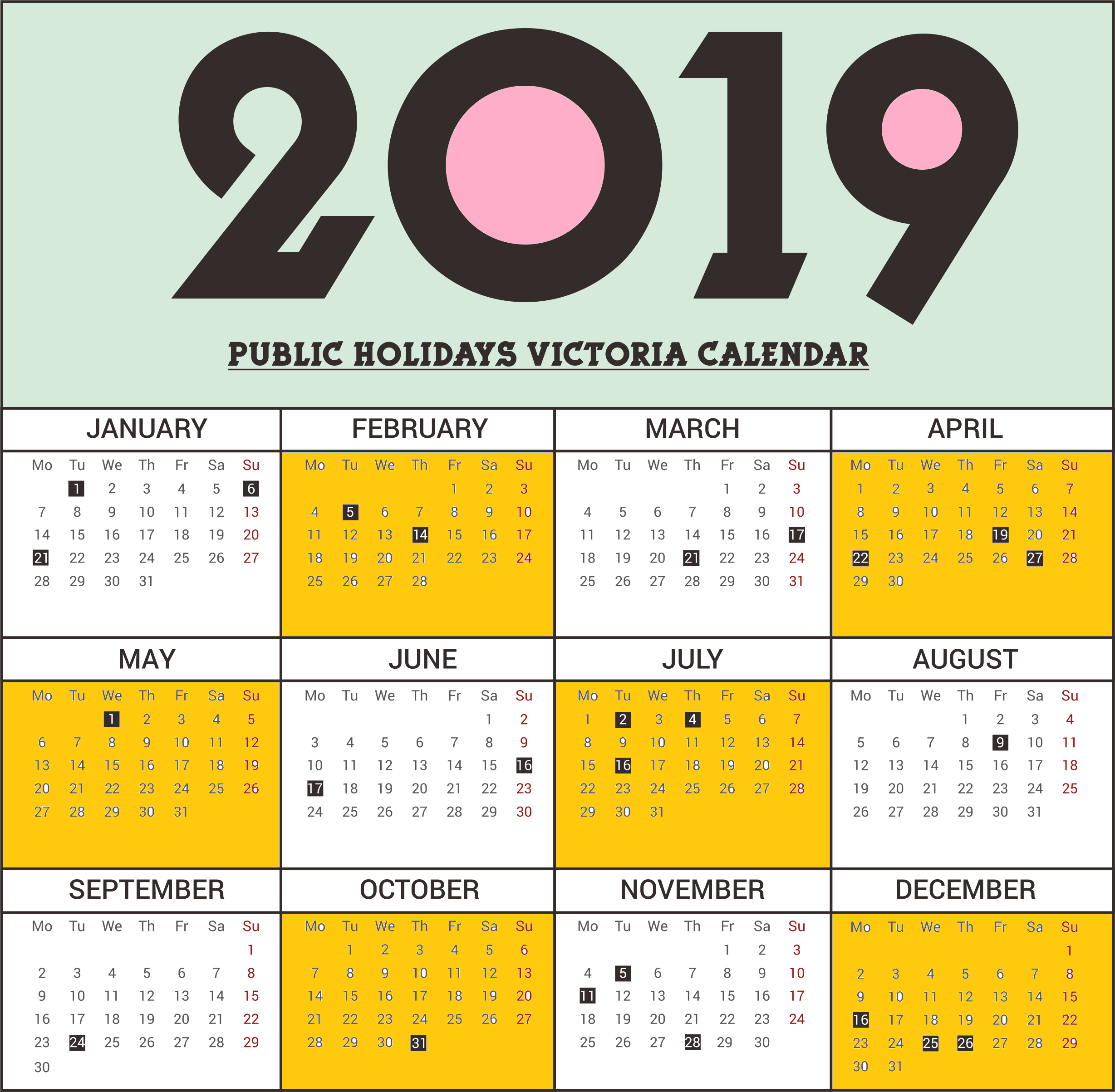 2019 School Year Calendar Victoria With Public Holidays PDF Template August 2018