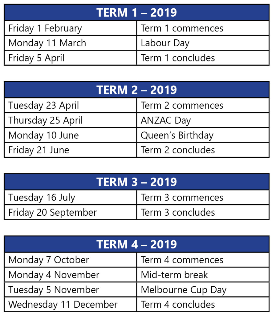 2019 School Year Calendar Victoria With Term Dates