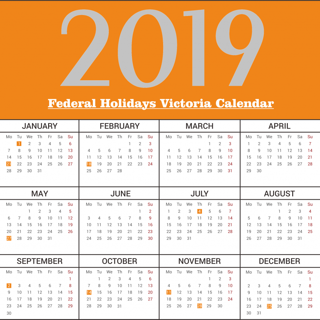 2019 School Year Calendar Victoria With Yearly Free Federal Holidays December 2018