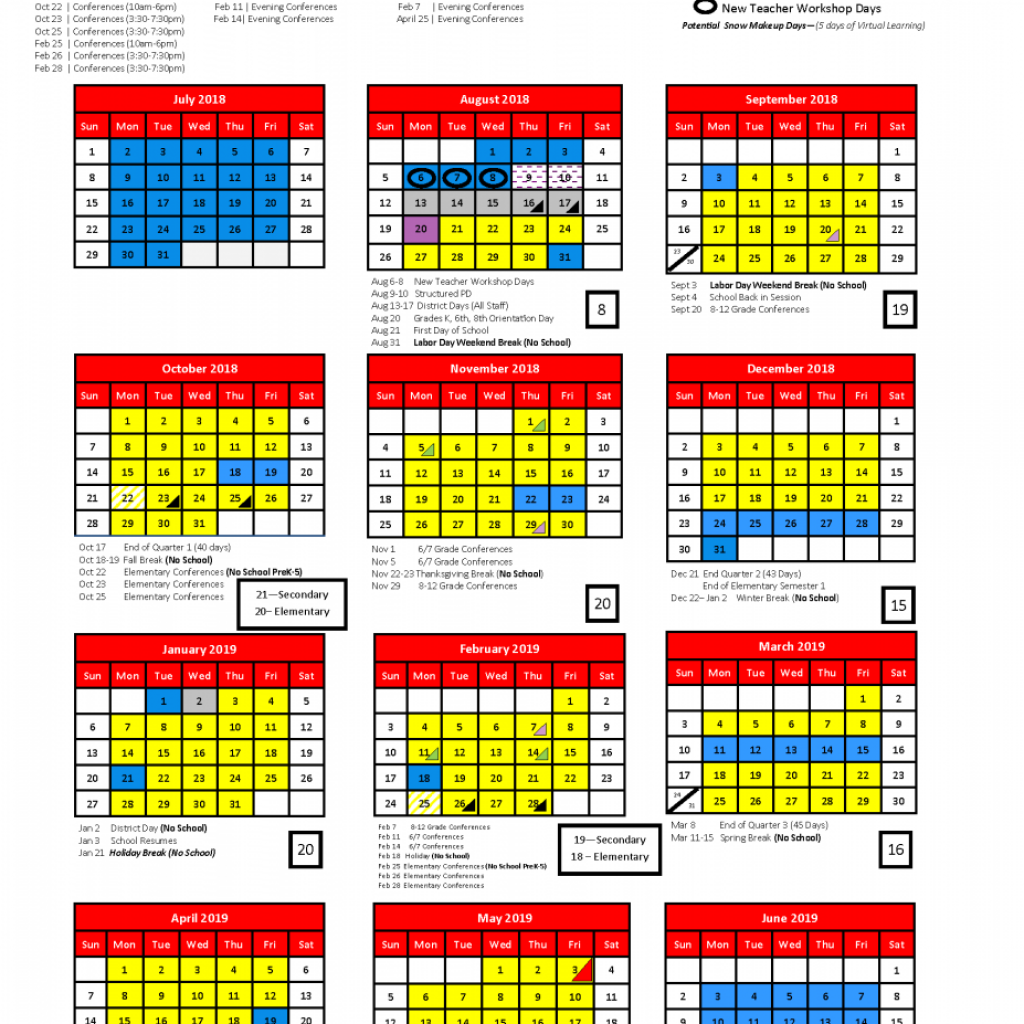2019 School Year Calendar With 2018 Albert Lea Area Schools