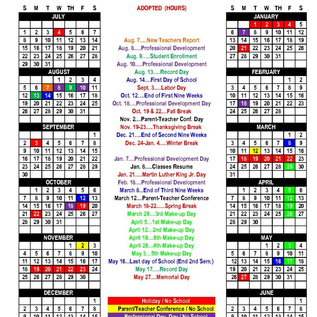 2019 School Year Calendar With 2018 Nicoma Park Middle Schools